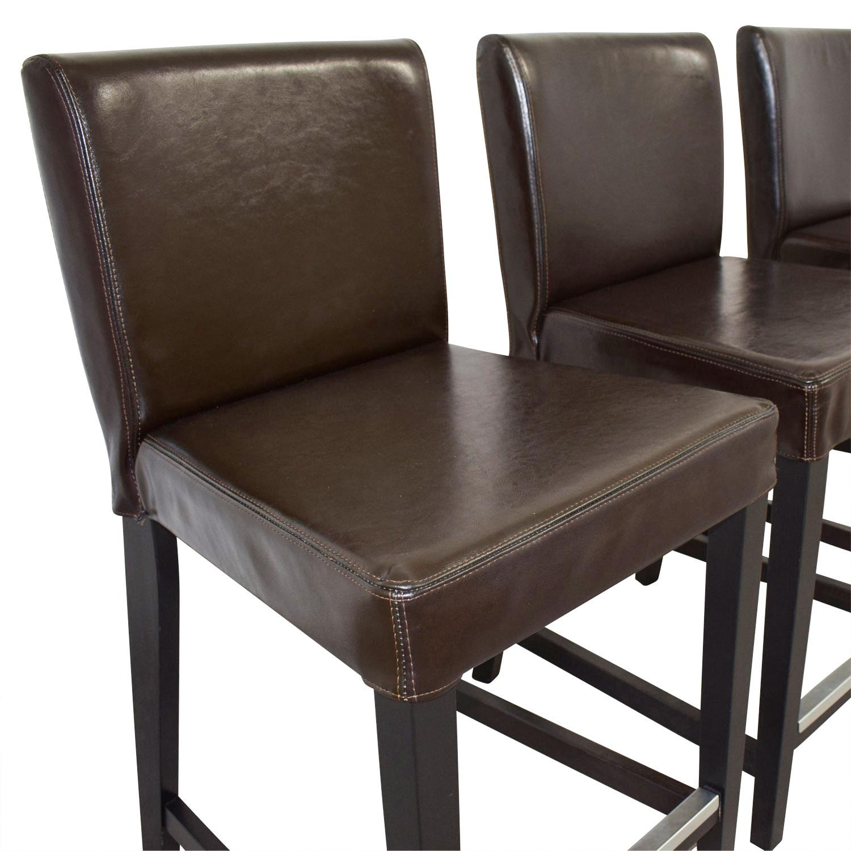 Astonishing 46 Off Ikea Ikea Henriksdal Brown Leather Bar Stools Chairs Machost Co Dining Chair Design Ideas Machostcouk