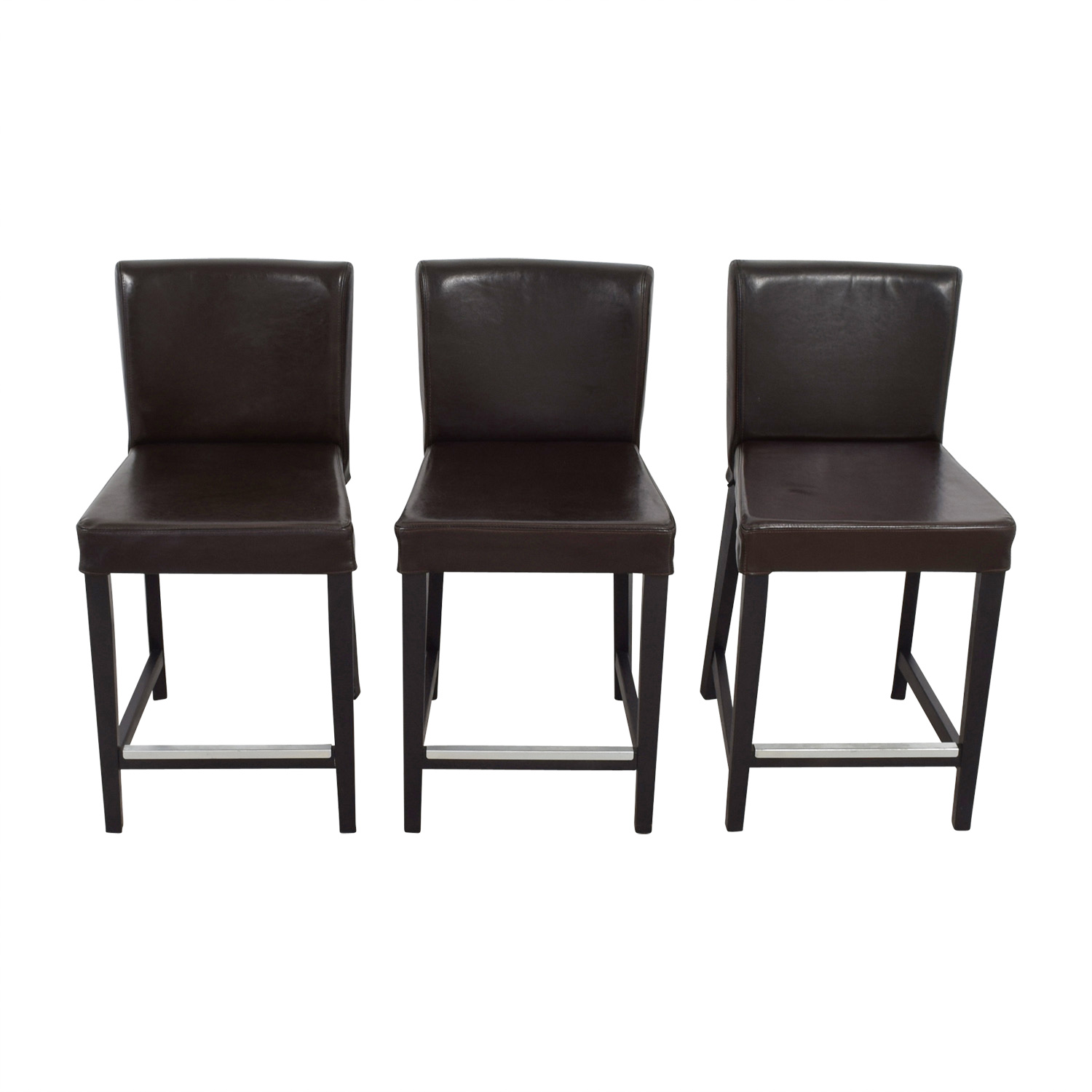 Miraculous 46 Off Ikea Ikea Henriksdal Brown Leather Bar Stools Chairs Machost Co Dining Chair Design Ideas Machostcouk
