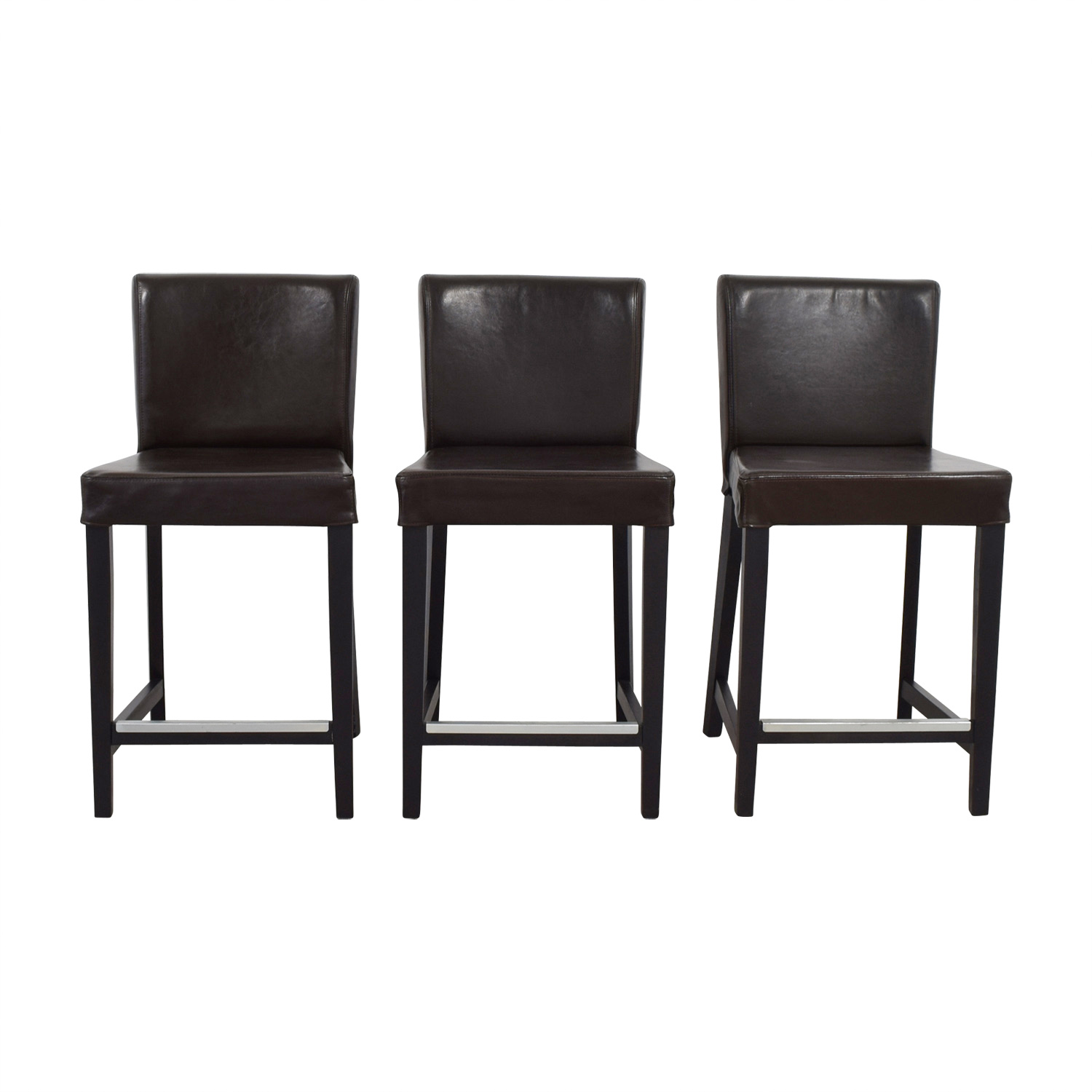 Swell 46 Off Ikea Ikea Henriksdal Brown Leather Bar Stools Chairs Machost Co Dining Chair Design Ideas Machostcouk