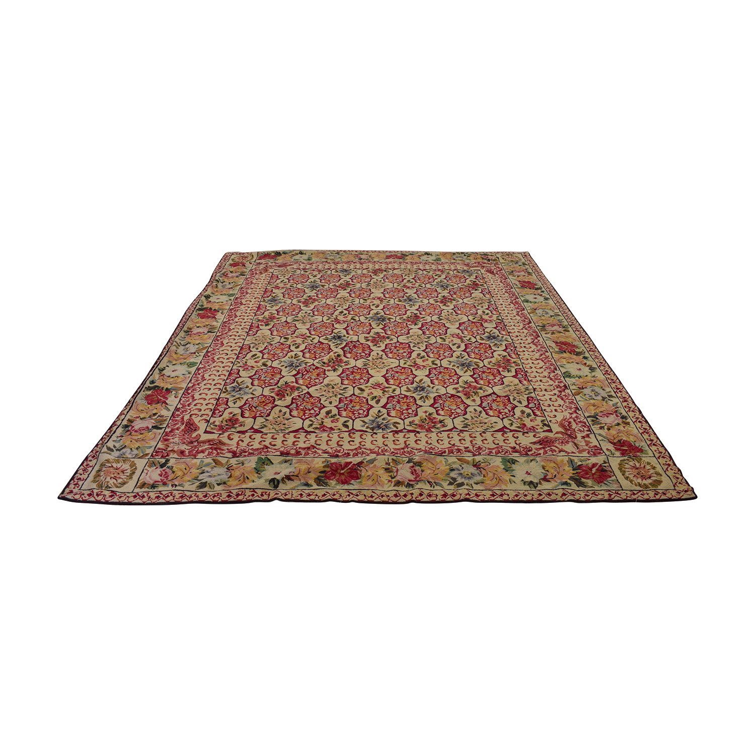 Multi-Color Flowered Area Rug second hand