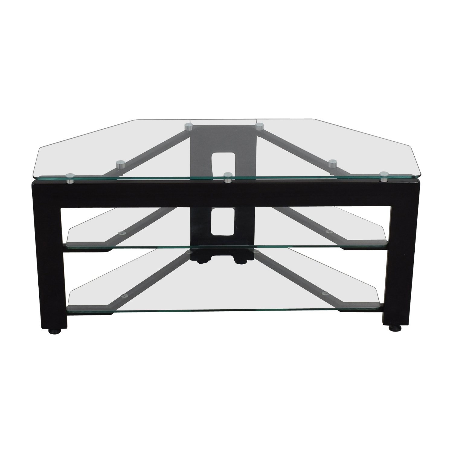 Glass Two-Shelf Corner TV Stand nj