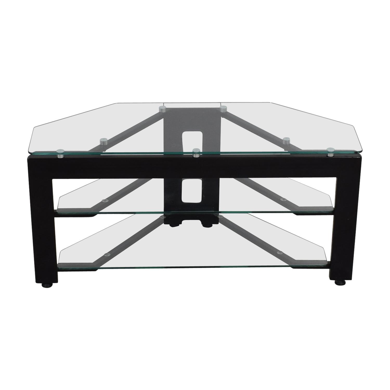 Glass Two-Shelf Corner TV Stand nj