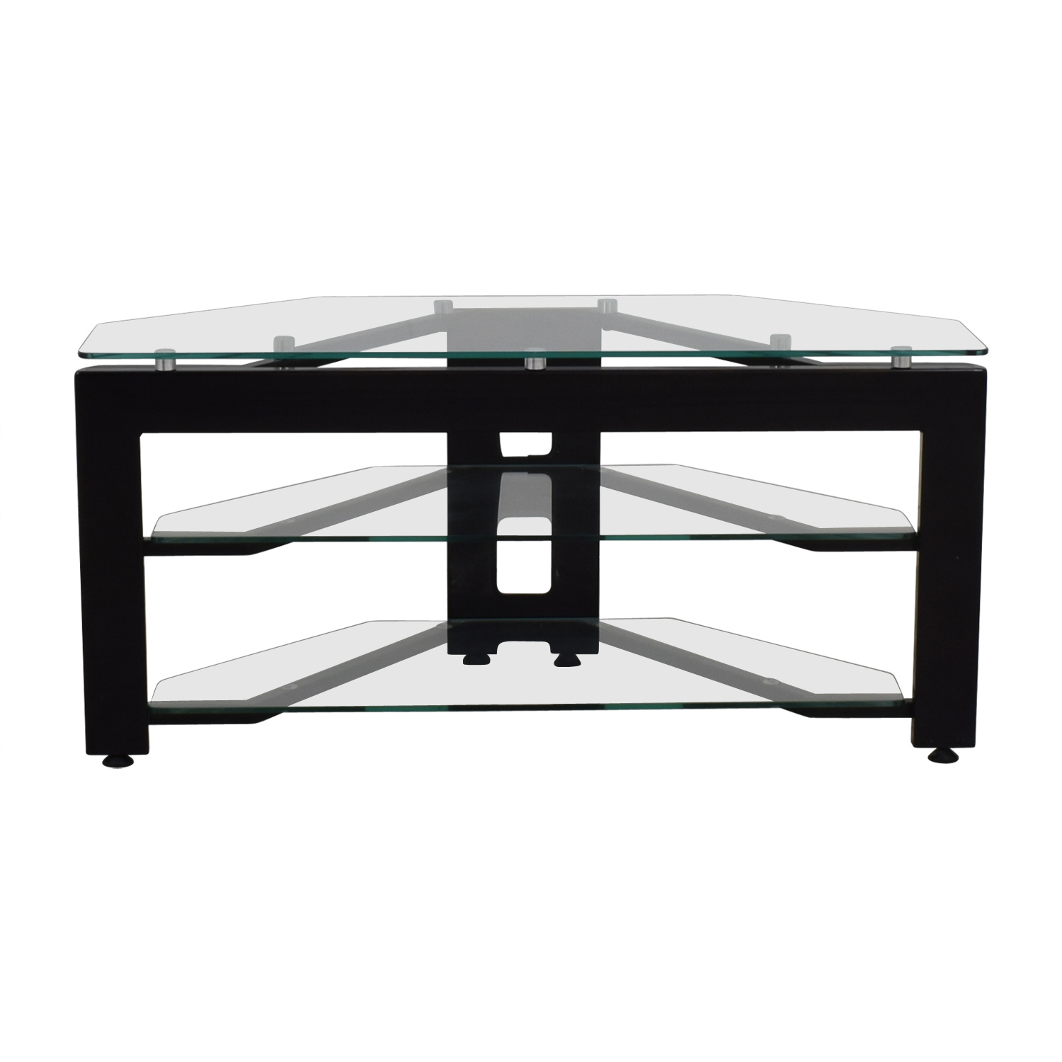 buy Glass Two-Shelf Corner TV Stand  Storage