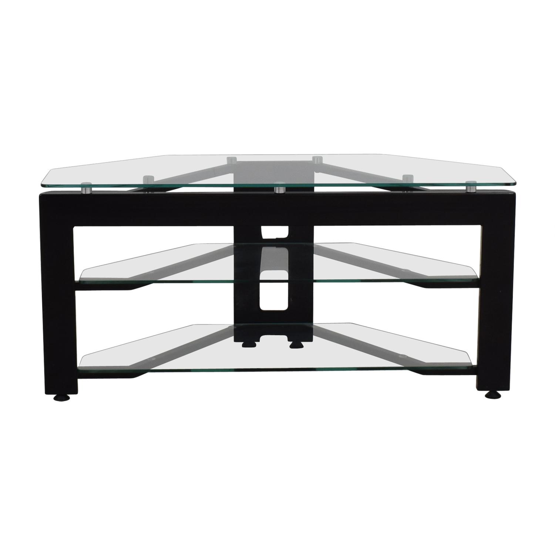 buy Glass Two-Shelf Corner TV Stand  Storage