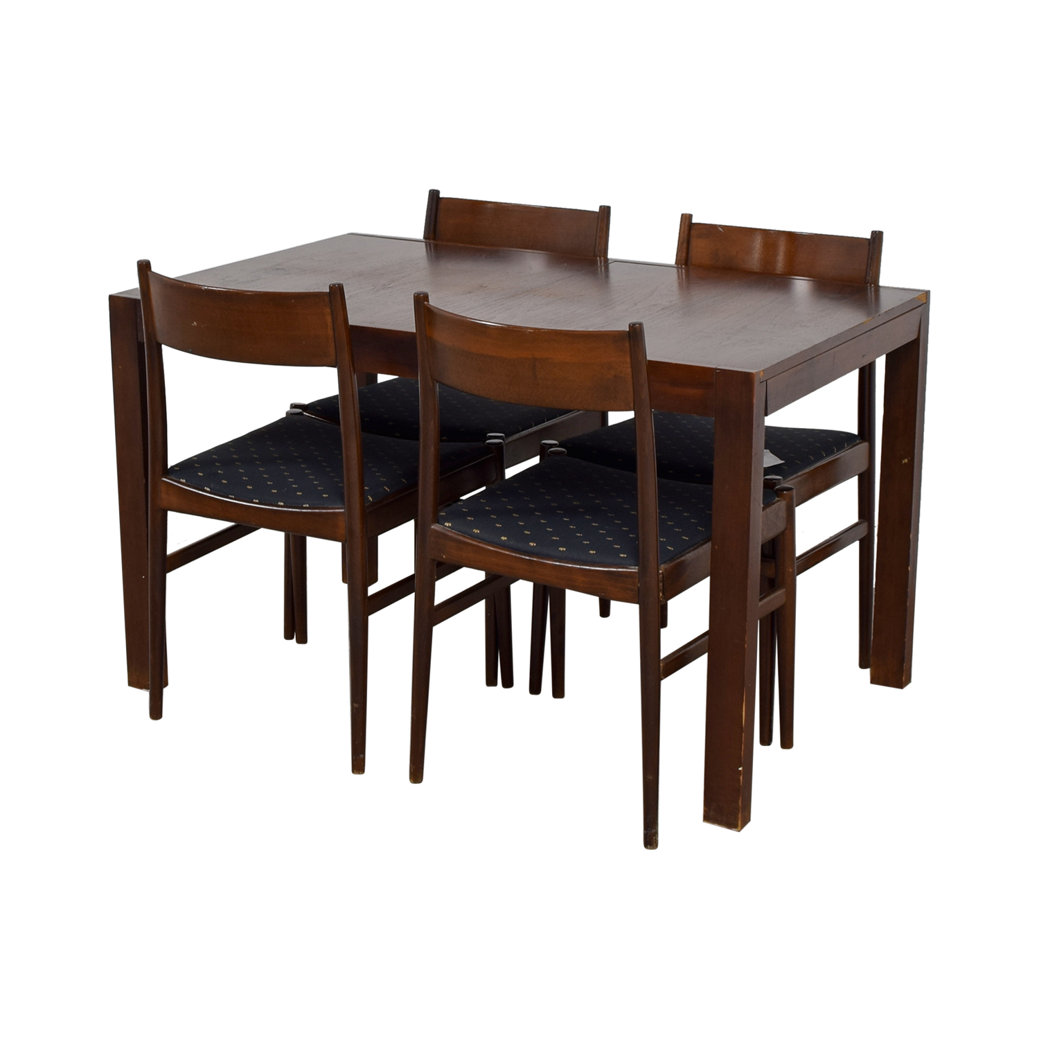 Extendable Wood Dining Set with Blue Seat Cushions nyc
