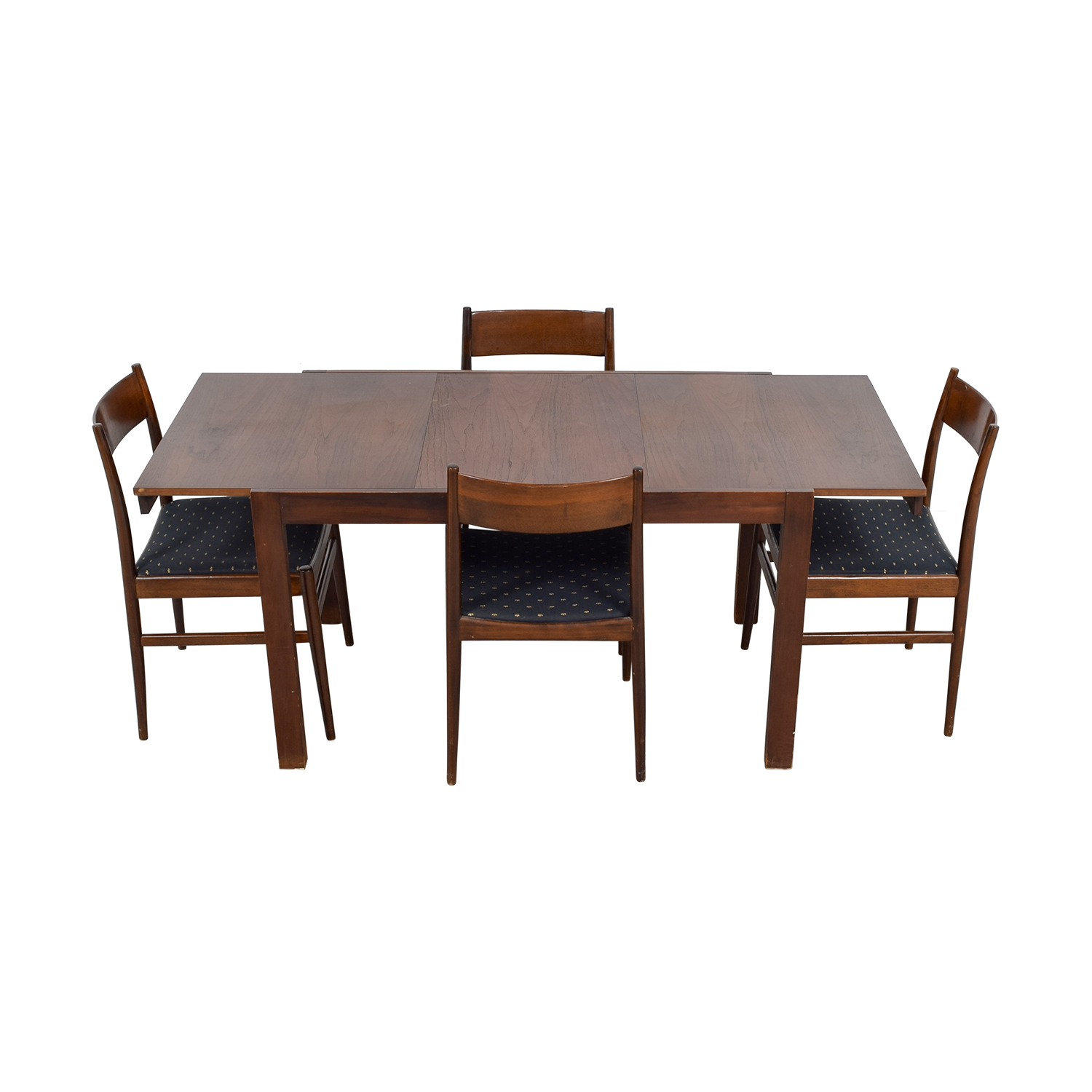 Extendable Wood Dining Set with Blue Seat Cushions second hand