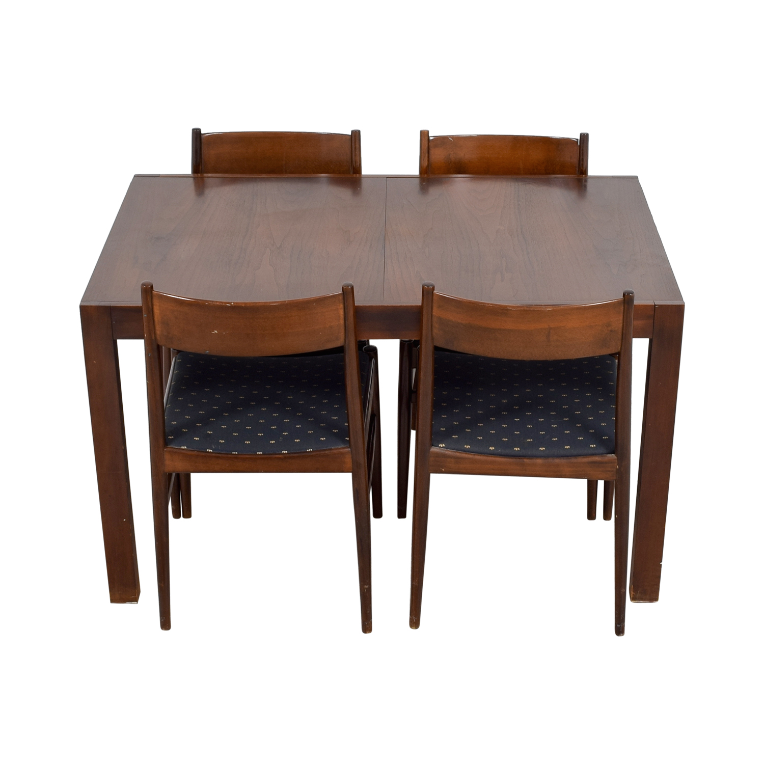 Extendable Wood Dining Set with Blue Seat Cushions