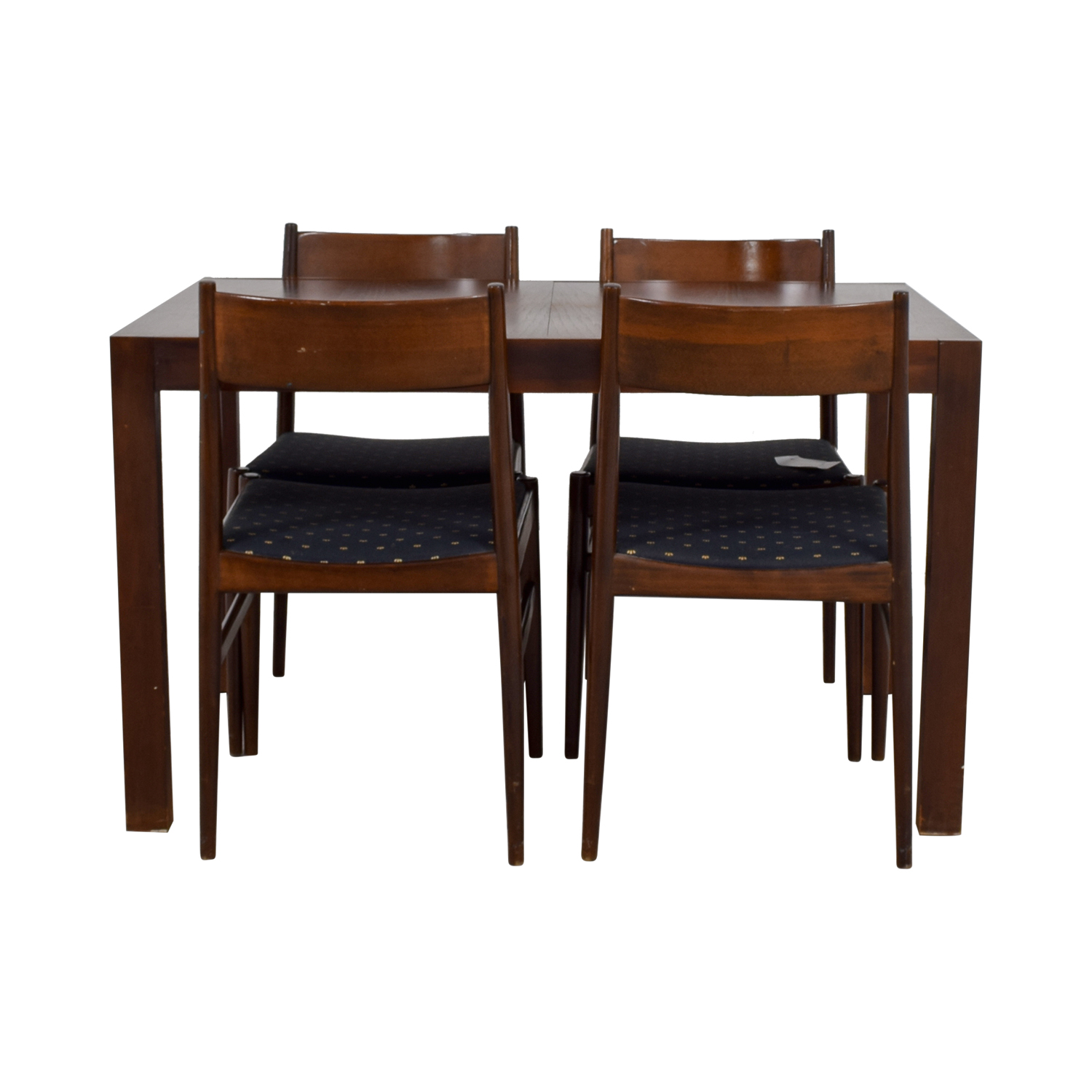 Extendable Wood Dining Set With Blue Seat Cushions Sale