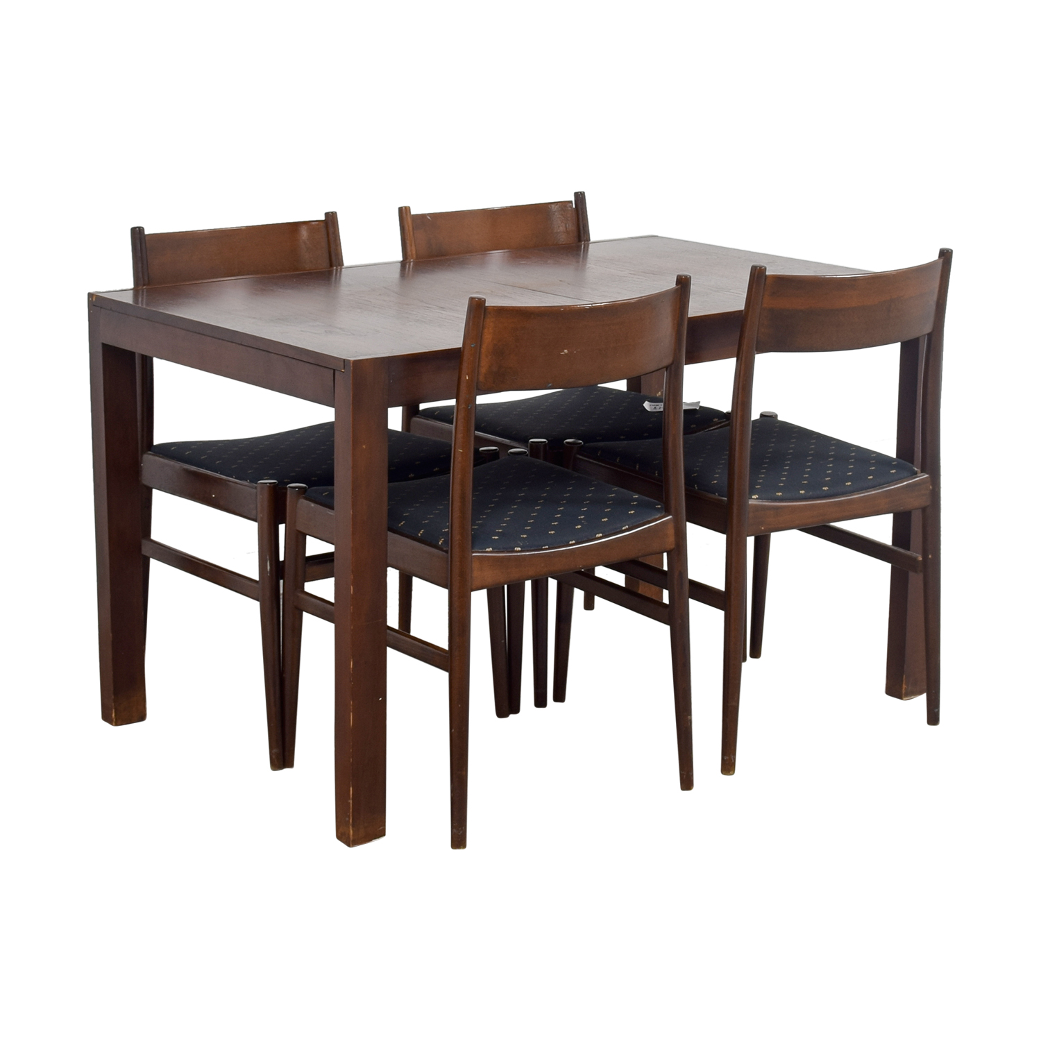 Extendable Wood Dining Set with Blue Seat Cushions / Dining Sets