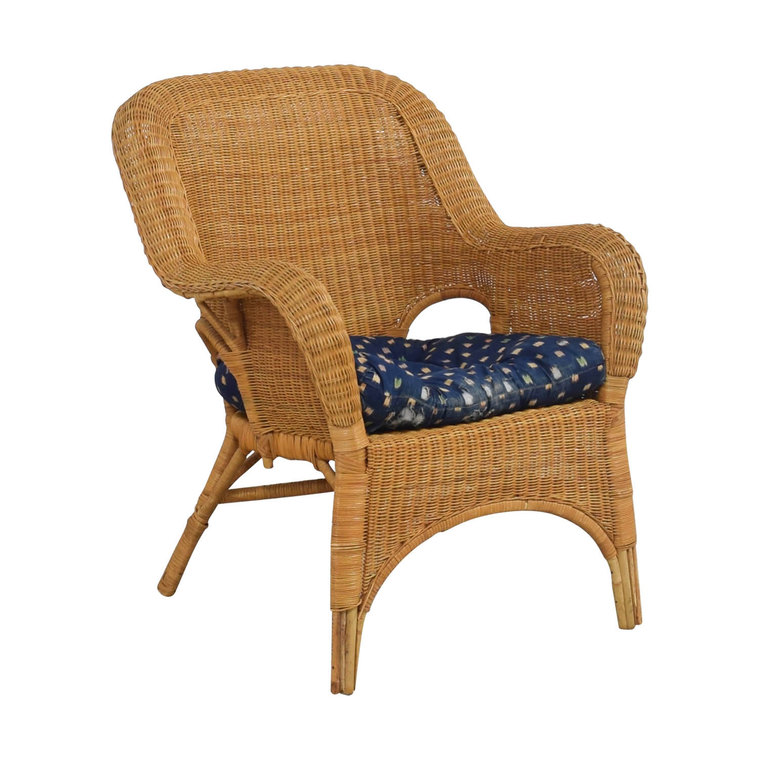 90 Off Natural Wicker Armchair With Cushion Chairs