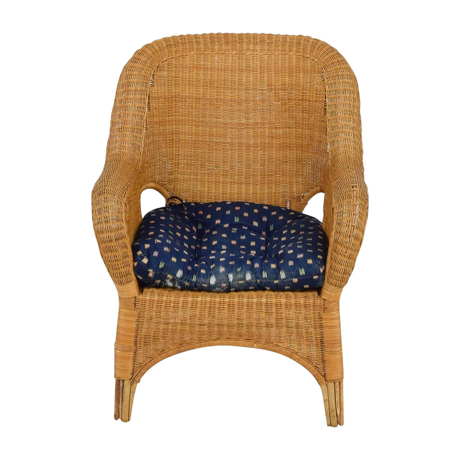buy Natural Wicker Armchair with Cushion