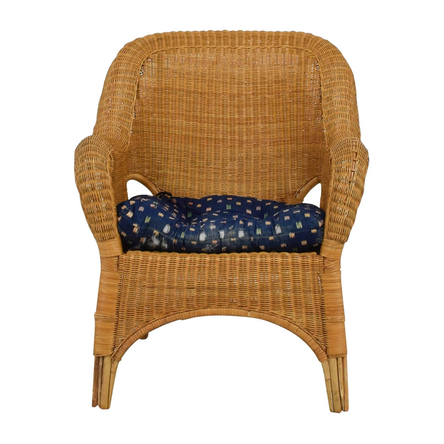 Natural Wicker Armchair With Cushion Accent Chairs ...