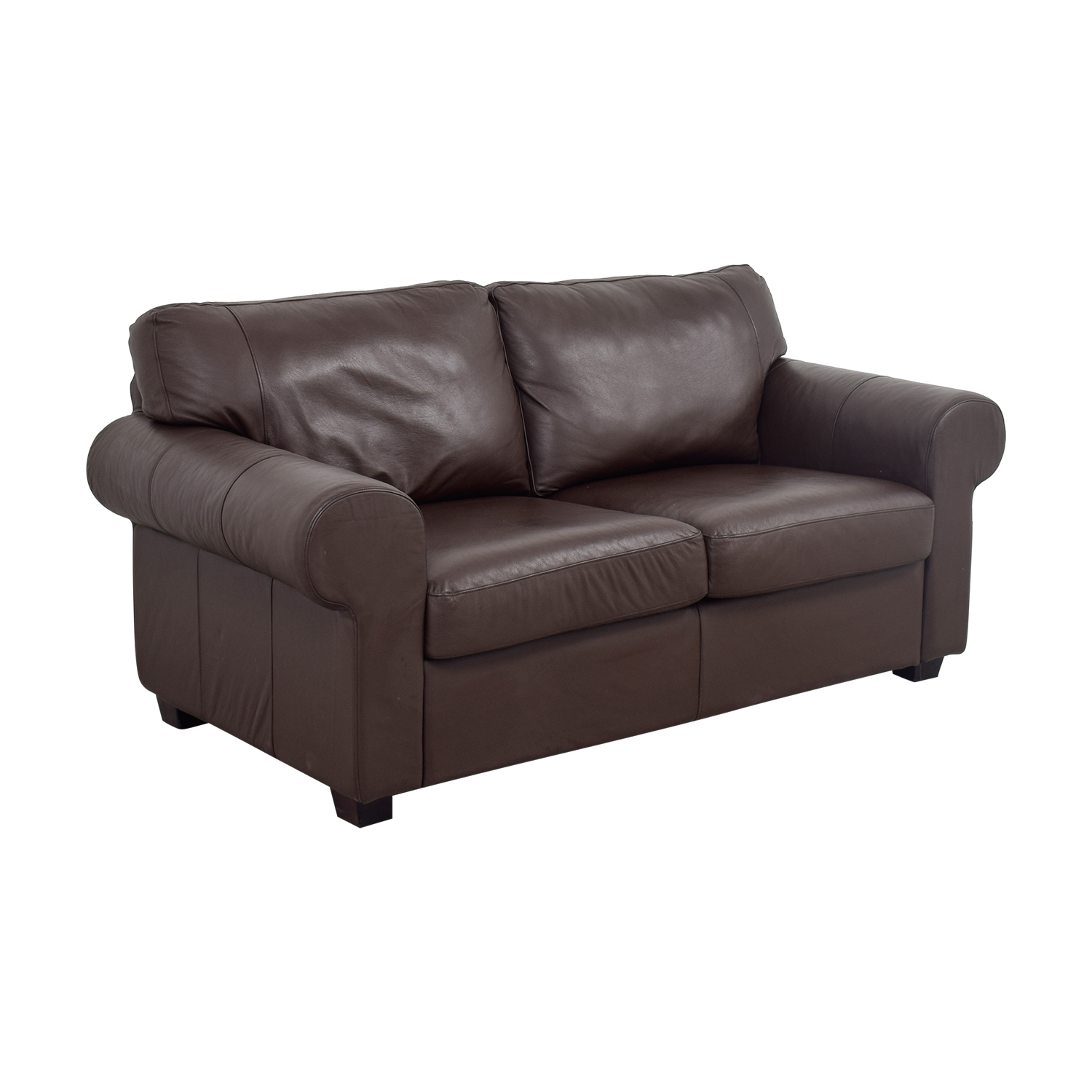 Brown Leather Curved Arm Loveseat nj