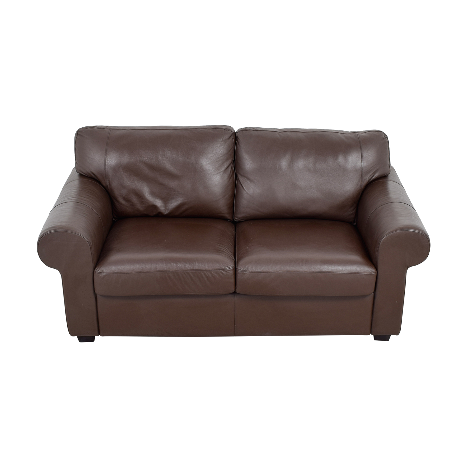 shop Brown Leather Curved Arm Loveseat  Sofas