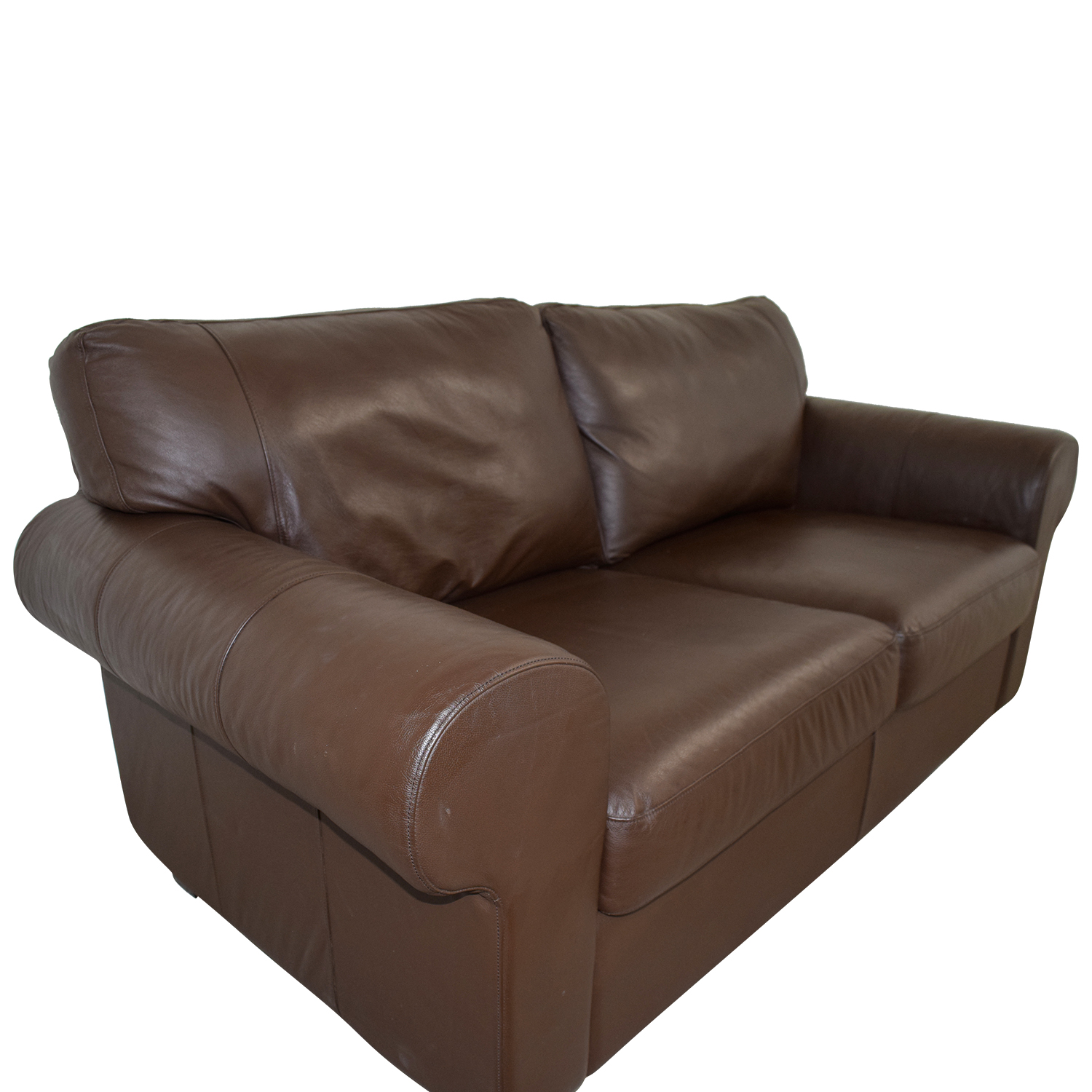 Brown Leather Curved Arm Loveseat used