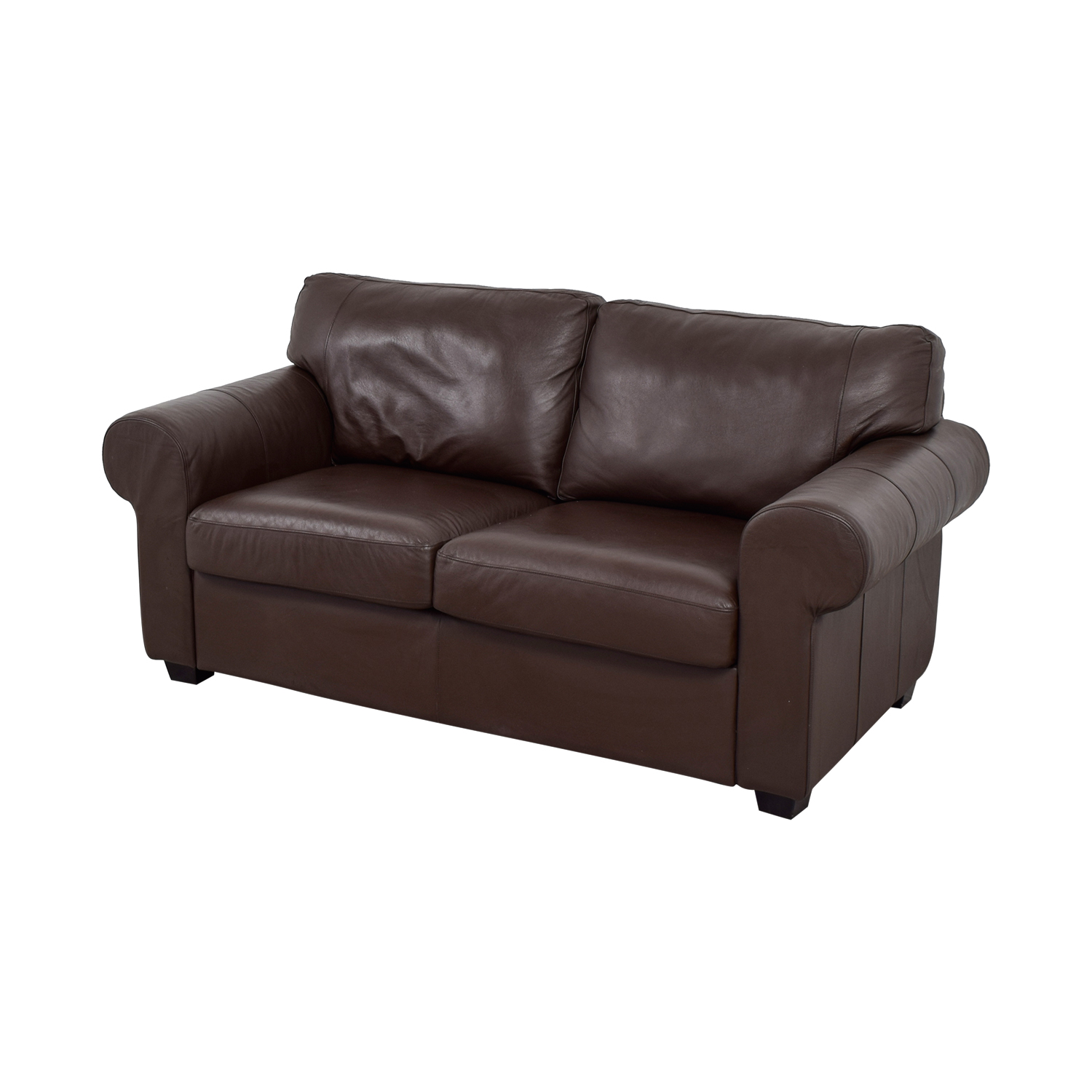 buy Brown Leather Curved Arm Loveseat