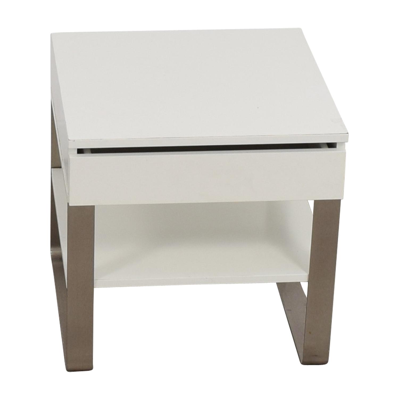 Single-Drawer White Nightstand second hand