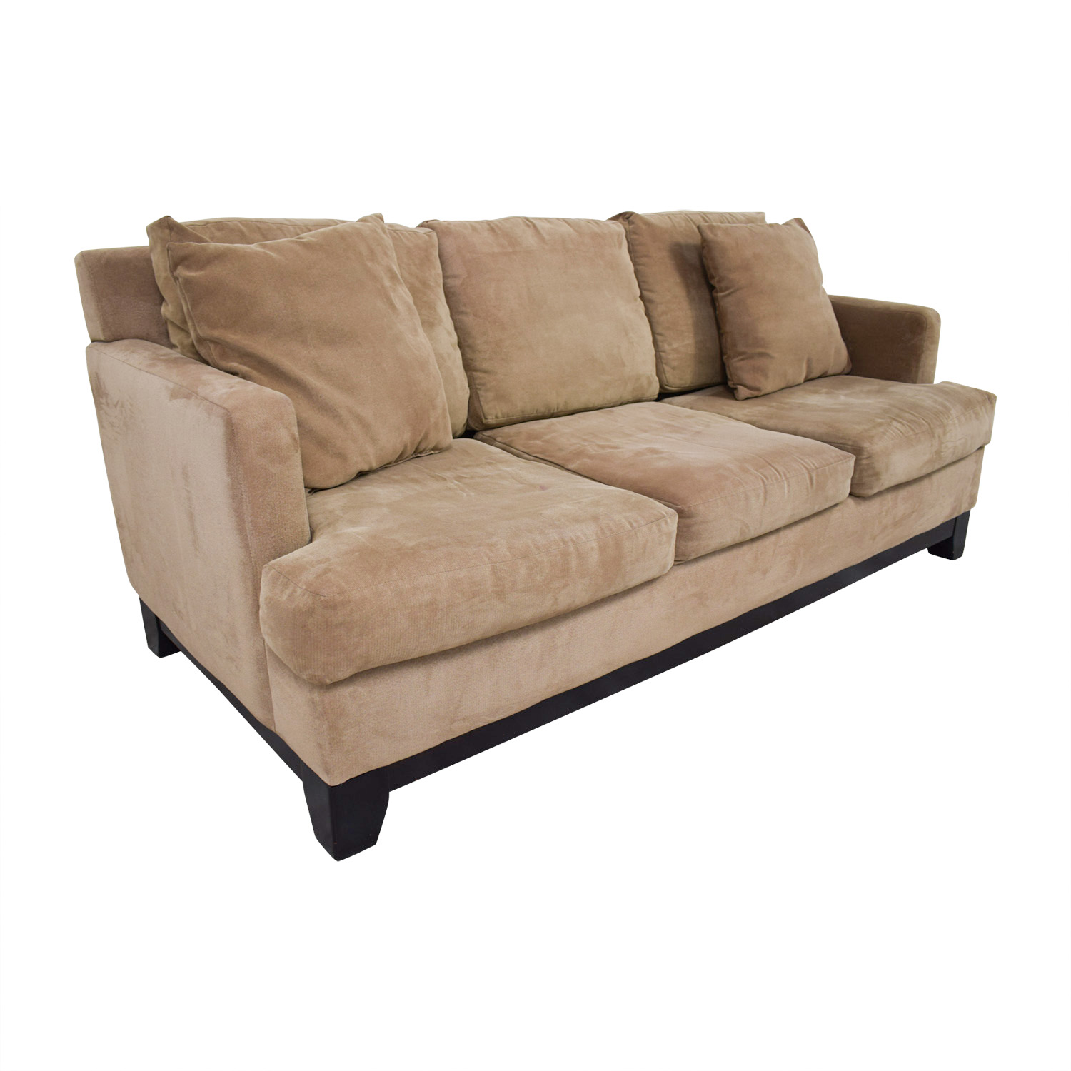 Macys Light Brown Microfiber Three-Cushion Sofa / Sofas