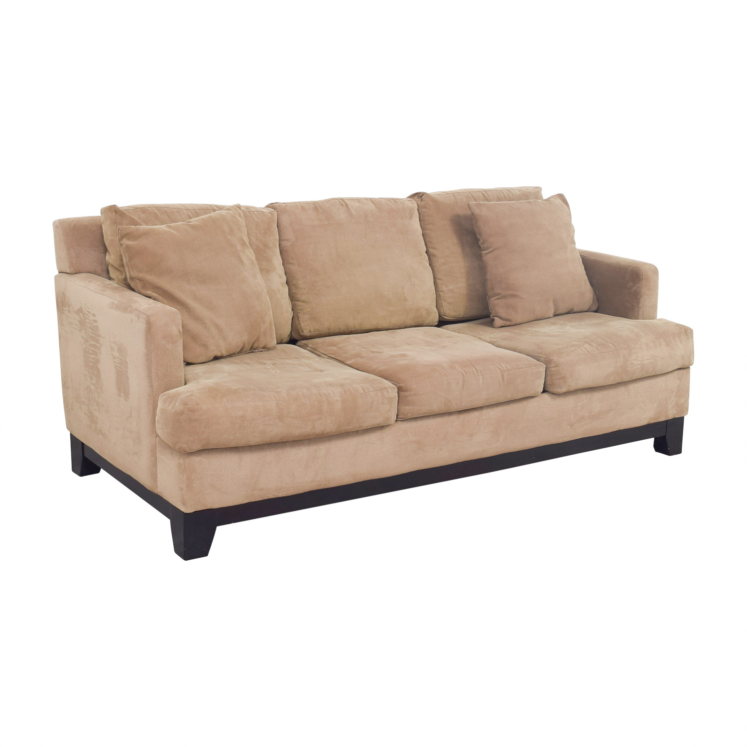 Macys Macys Light Brown Microfiber Three-Cushion Sofa second hand