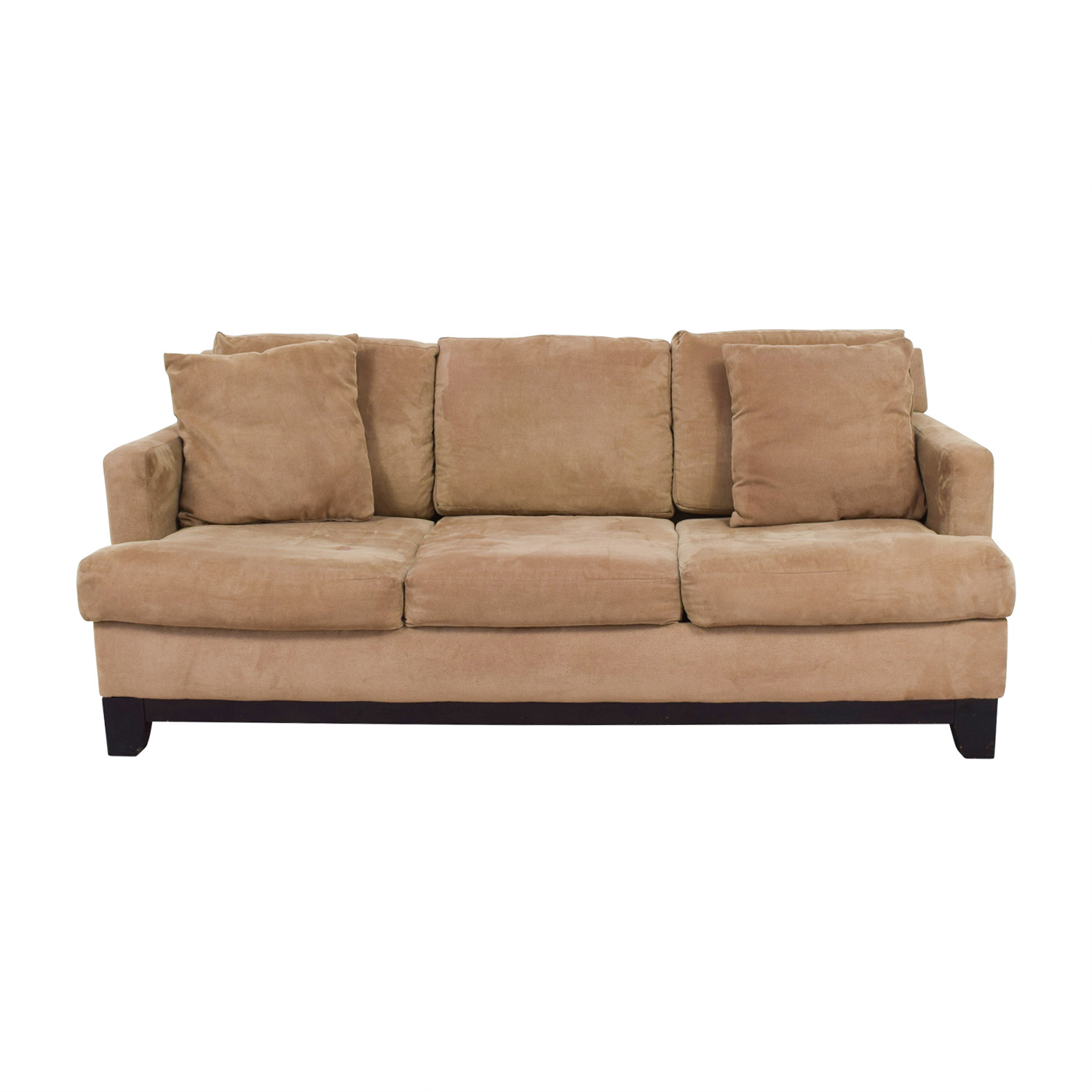 shop Macys Light Brown Microfiber Three-Cushion Sofa Macys Sofas