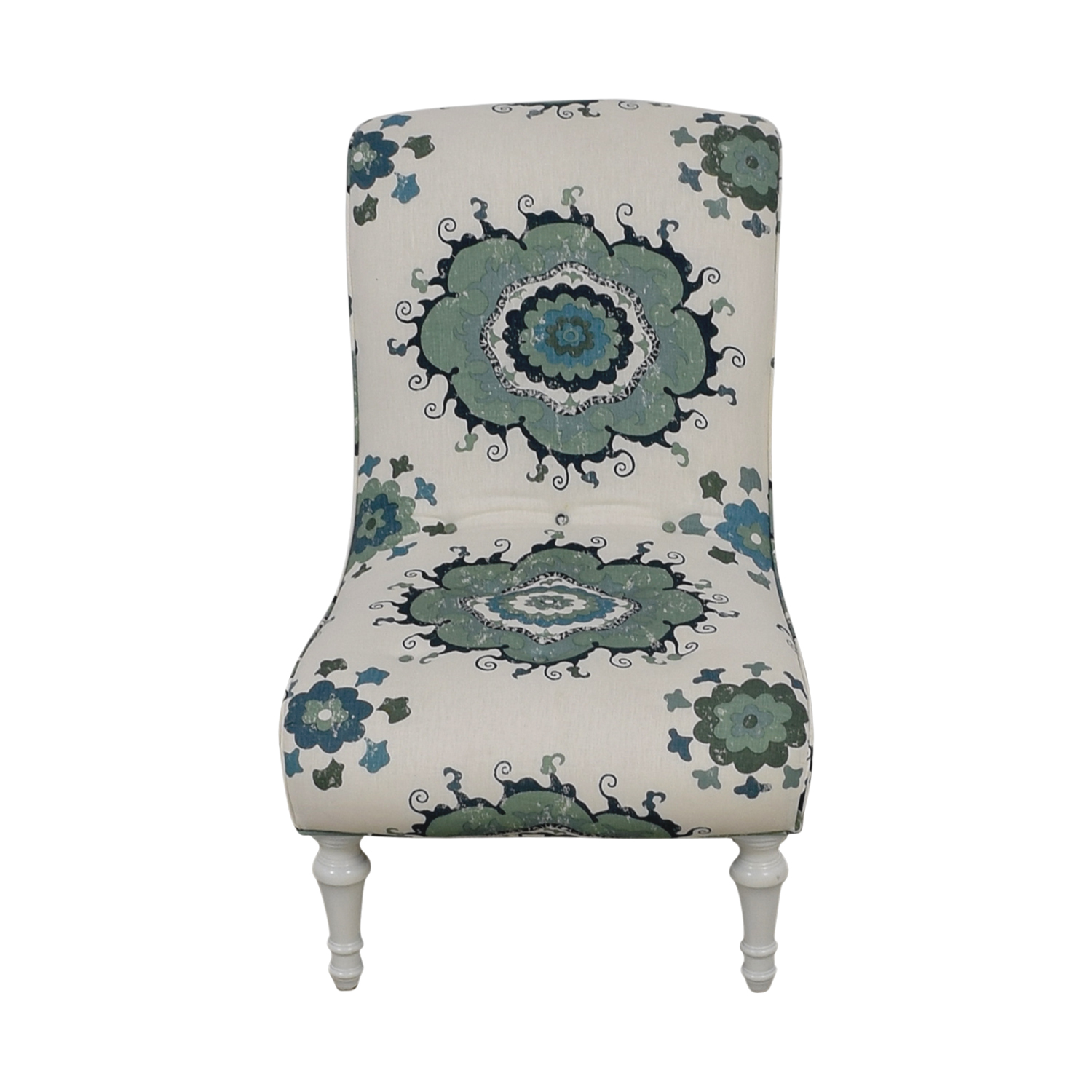Blue and Green Floral White Accent Chair / Chairs