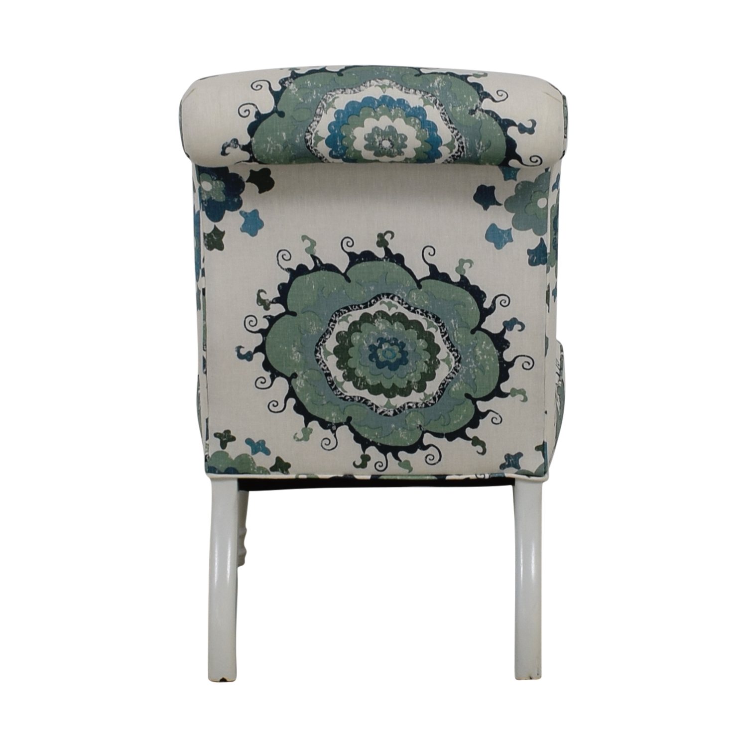 Blue and Green Floral White Accent Chair discount