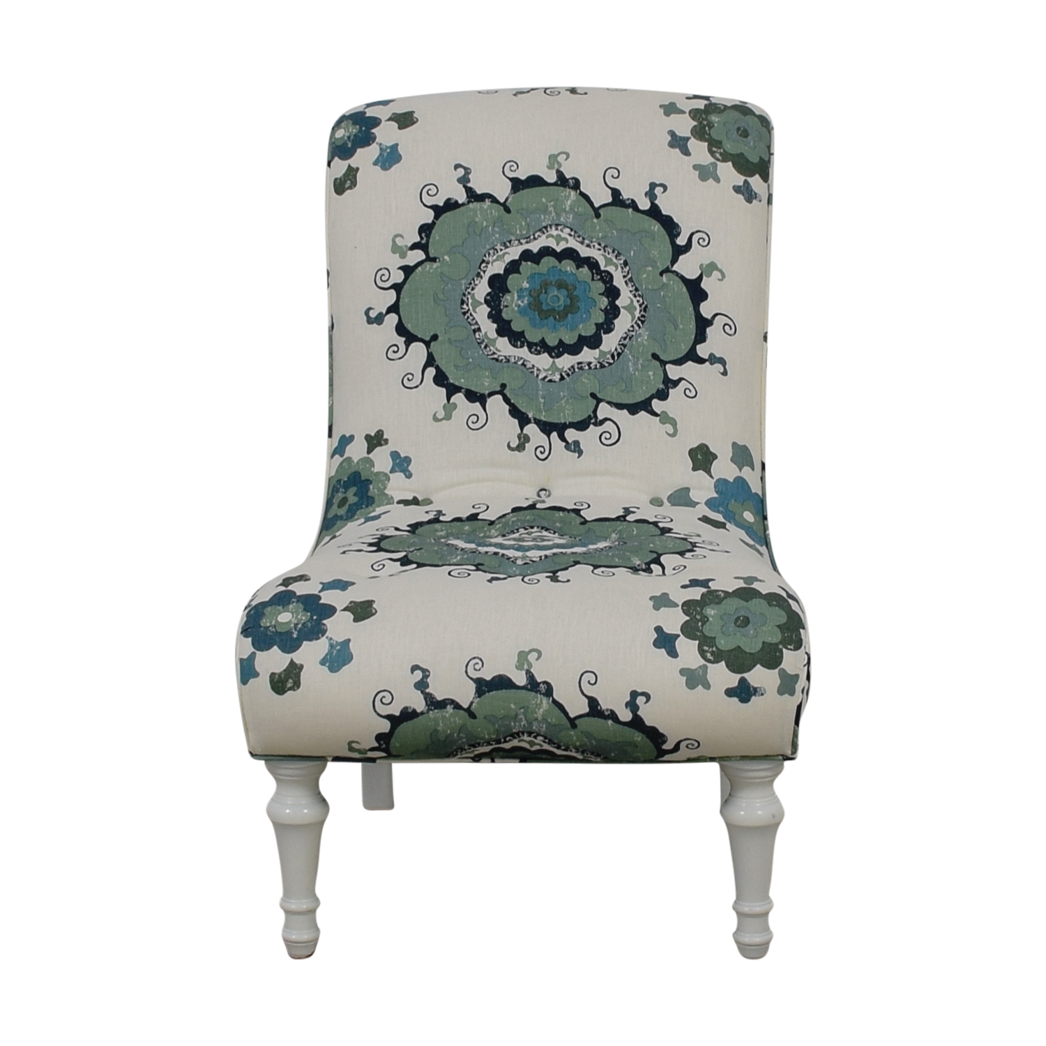 Blue and Green Floral White Accent Chair Accent Chairs