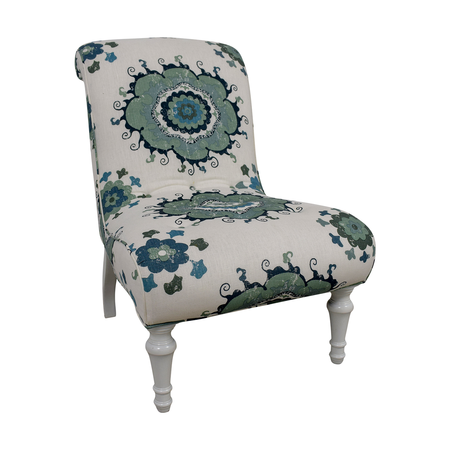 Blue and Green Floral White Accent Chair coupon