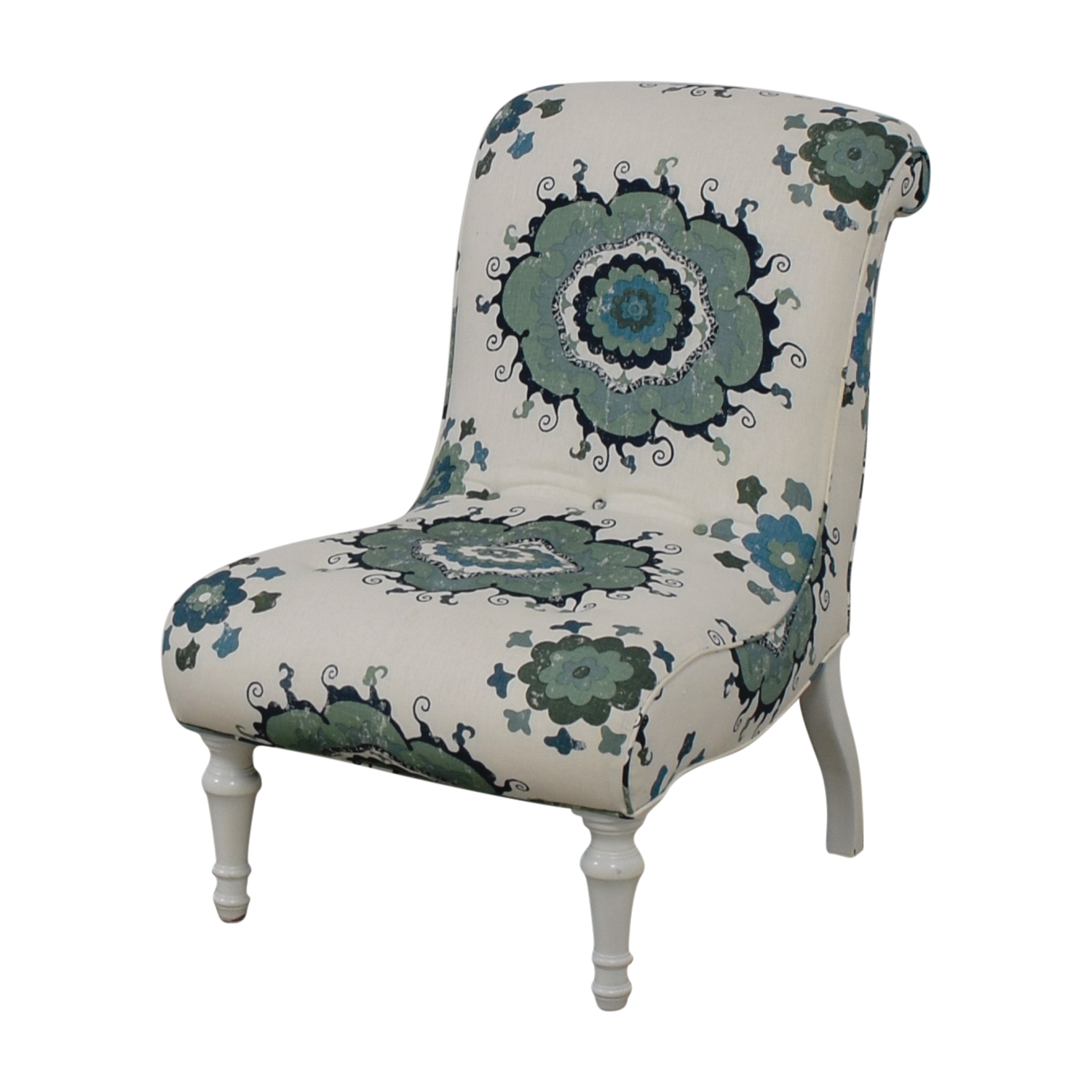 Blue and Green Floral White Accent Chair dimensions