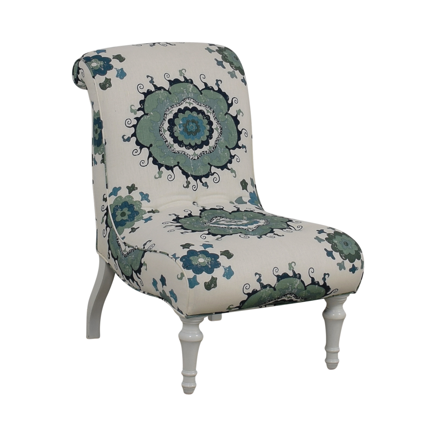 Blue and Green Floral White Accent Chair second hand