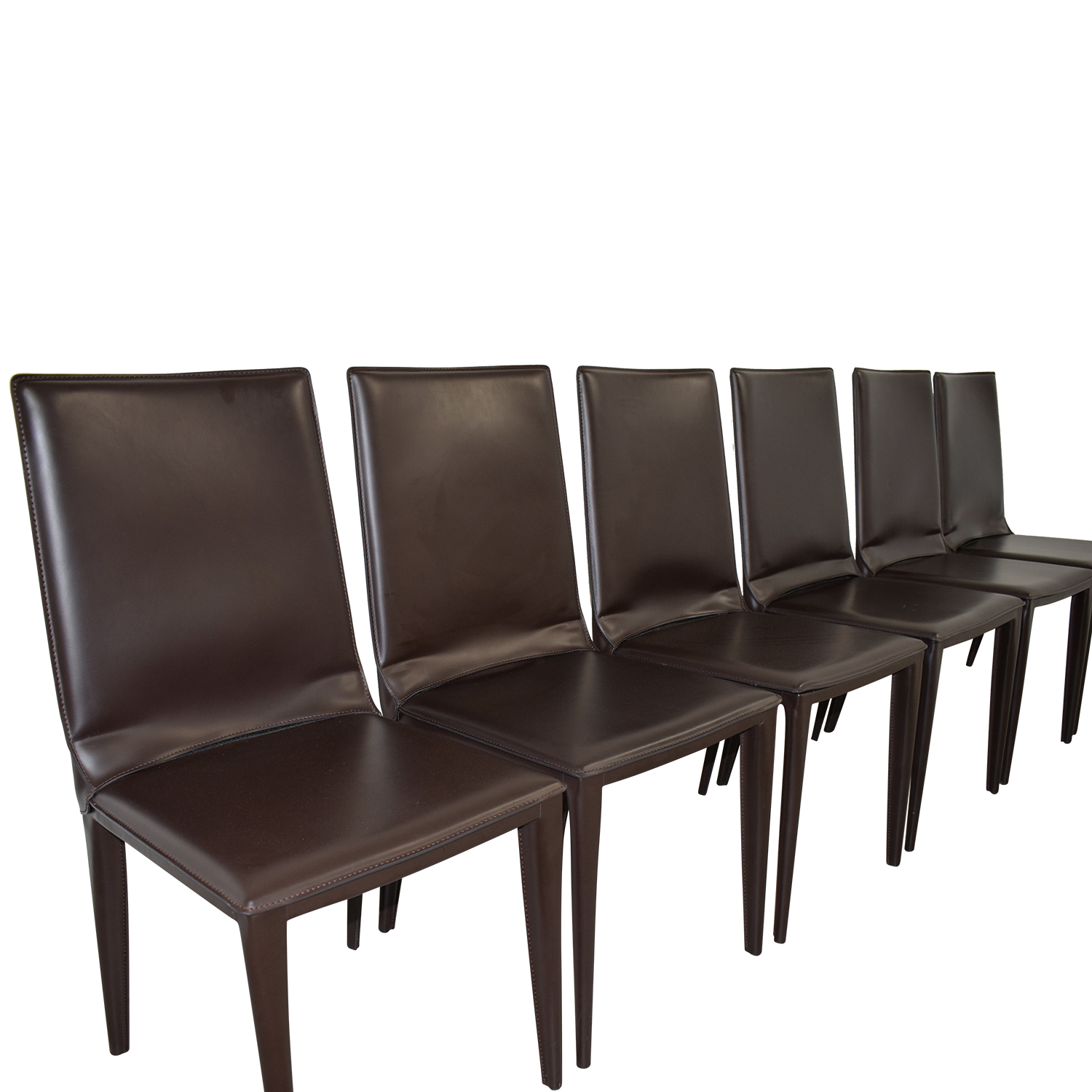 70% OFF - Frag Frag Brown Leather Dining Room Chairs / Chairs