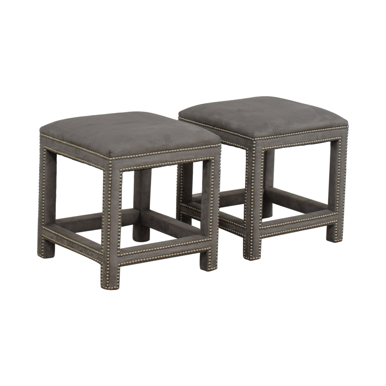 buy Lillian August Grey Suede Nailhead Ottomans or Stools Lillian August Stools