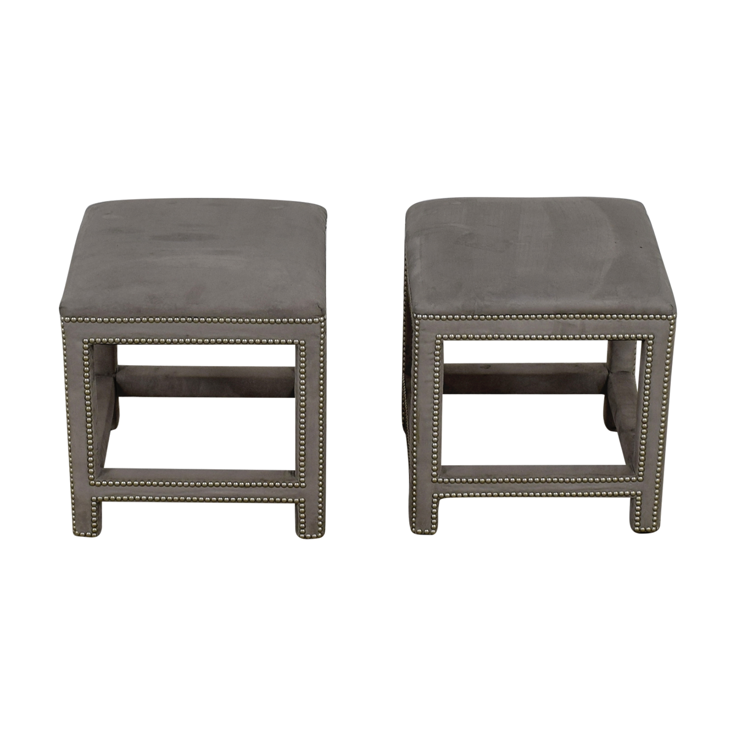 Lillian August Grey Suede Nailhead Ottomans or Stools sale