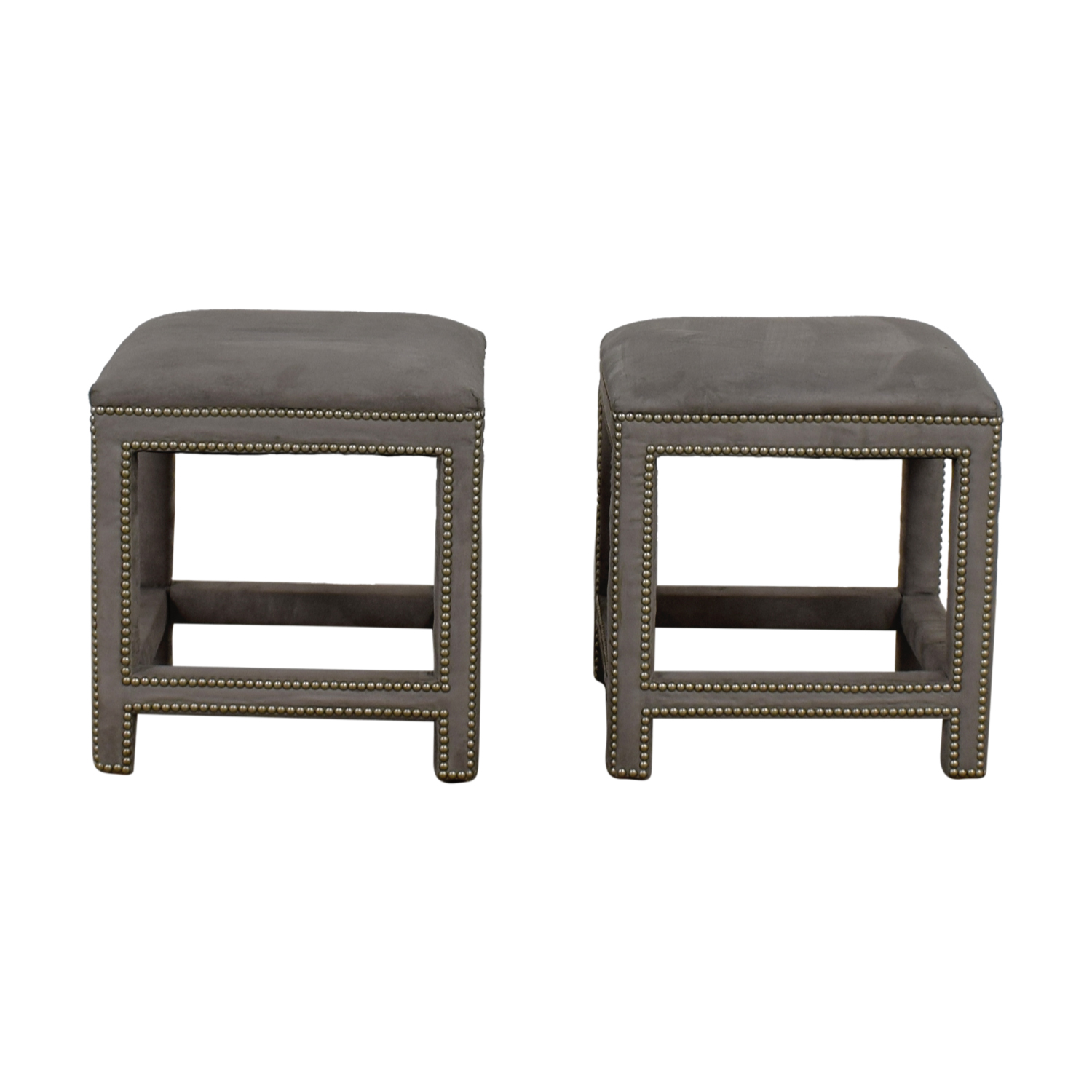 Lillian August Lillian August Grey Suede Nailhead Ottomans or Stools discount