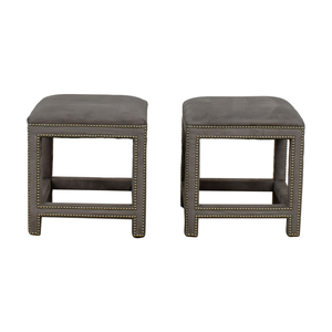 Lillian August Lillian August Grey Suede Nailhead Ottomans or Stools dimensions