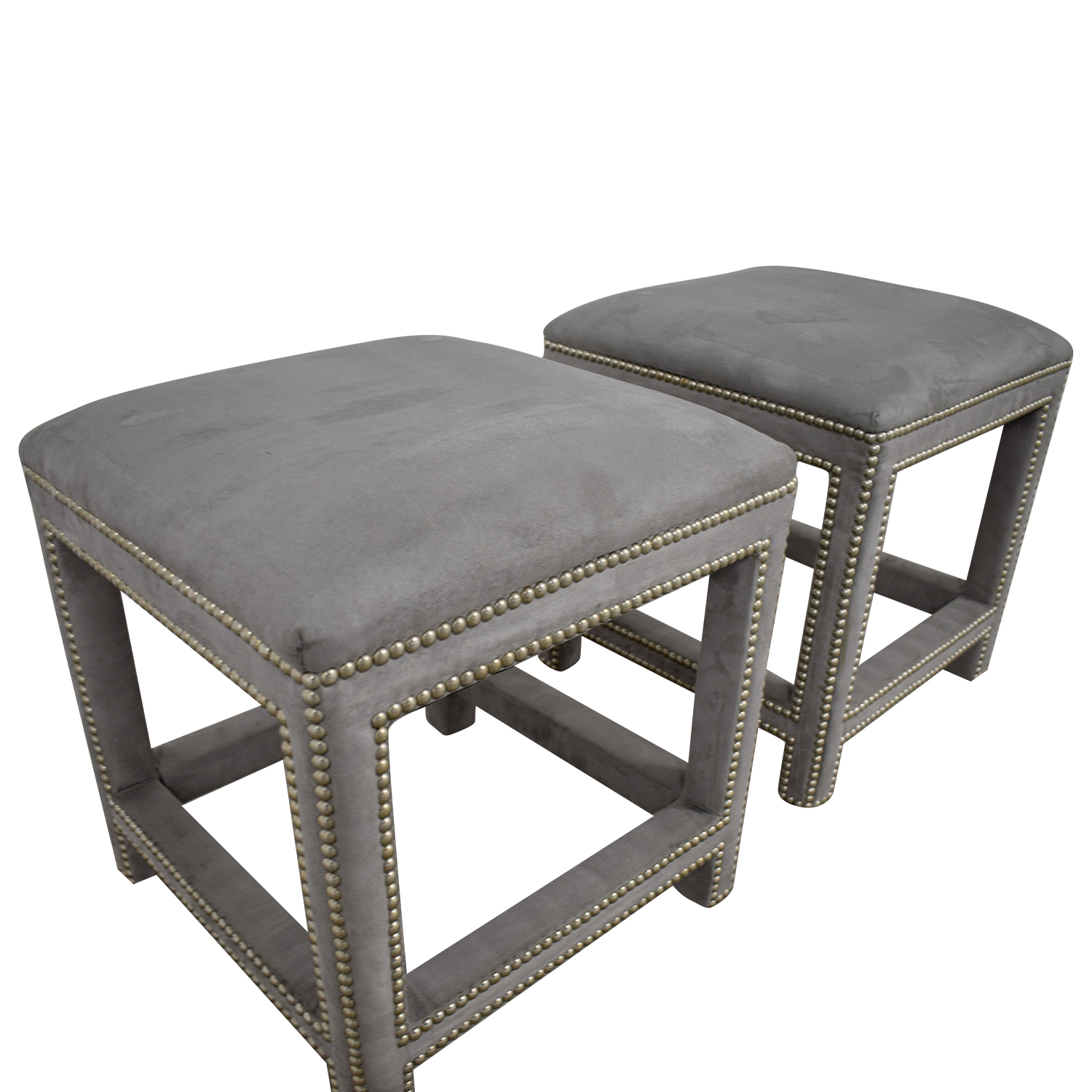 shop Lillian August Lillian August Grey Suede Nailhead Ottomans or Stools online