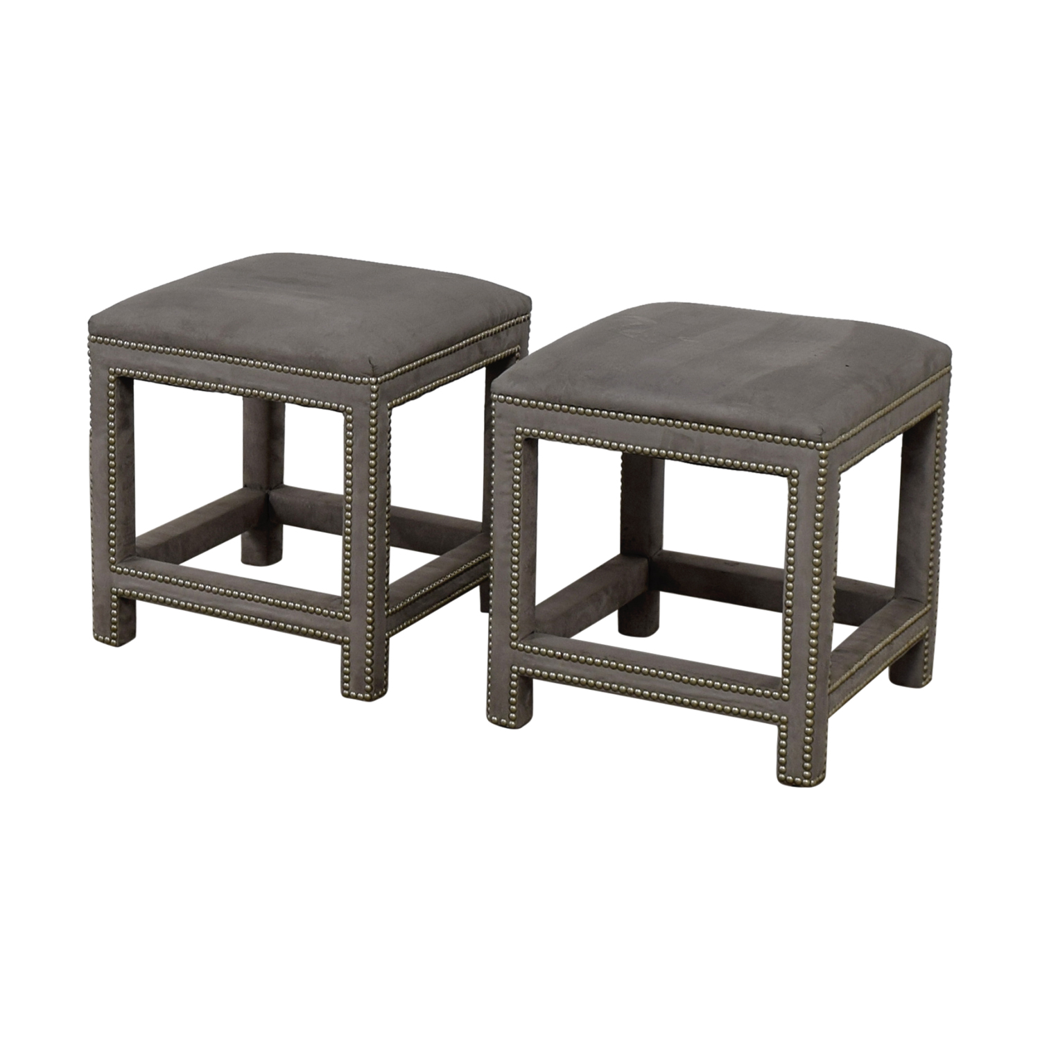 Lillian August Lillian August Grey Suede Nailhead Ottomans or Stools on sale