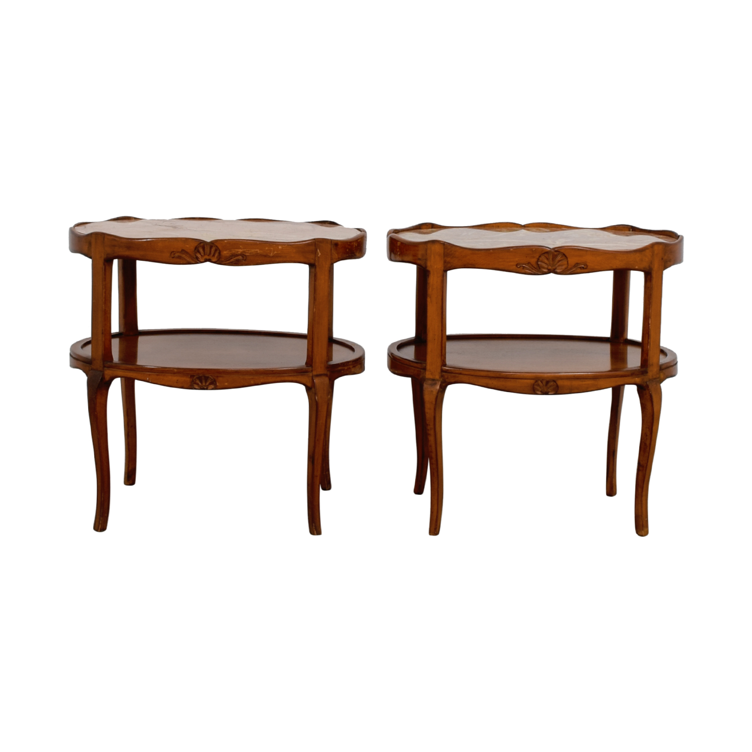 61 off marble topped cherry wood oval side tables tables for Mauble furniture