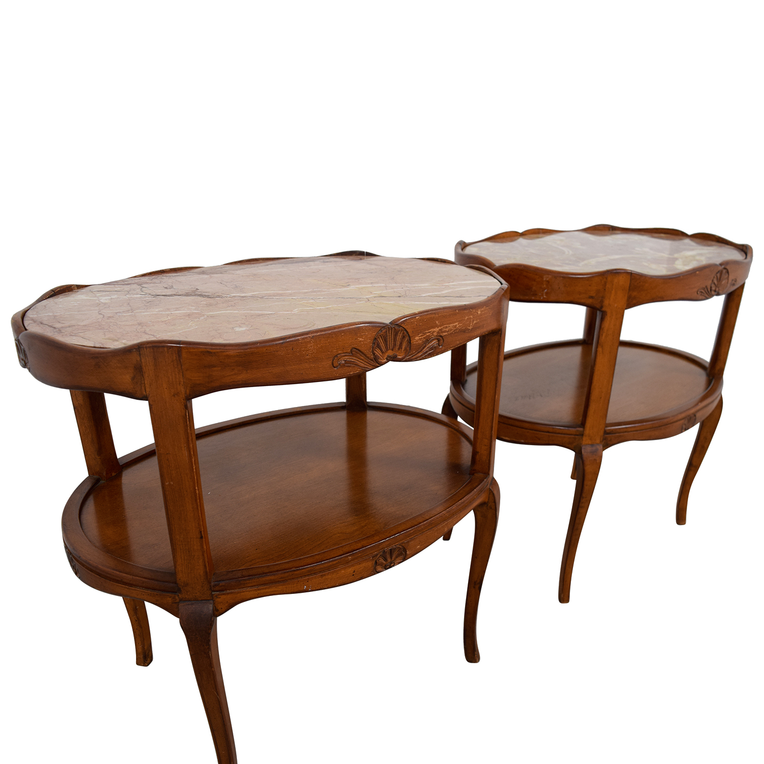 Cherry Marble Top Coffee Tables: Marble Topped Cherry Wood Oval Side Tables / Tables