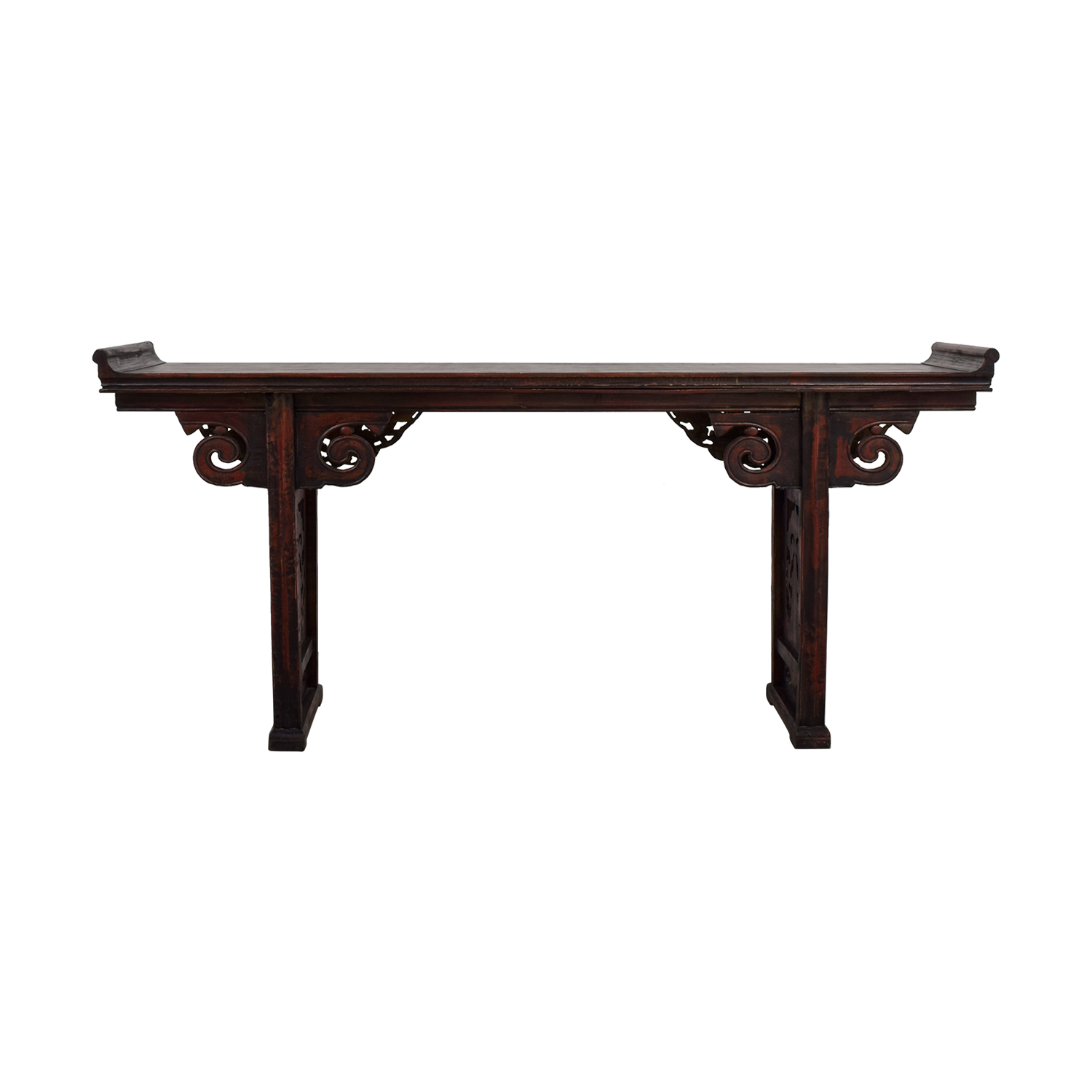 Arhaus Arhaus Carved Wood Altar Table RED AND BLACK WOOD