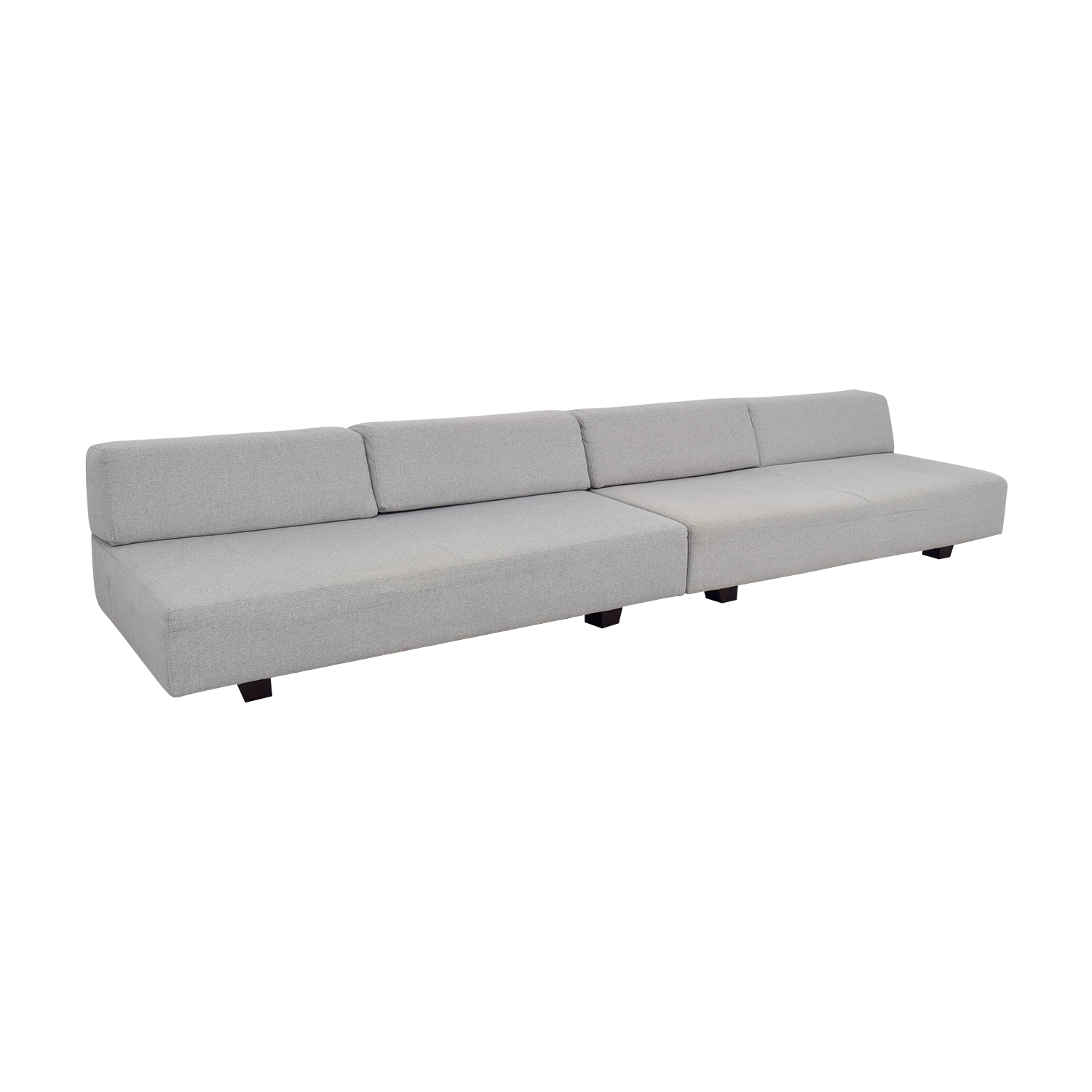 ... West Elm West Elm Tillary Chenille Tweed Feather Gray Modular Seating  Sofa Discount ...