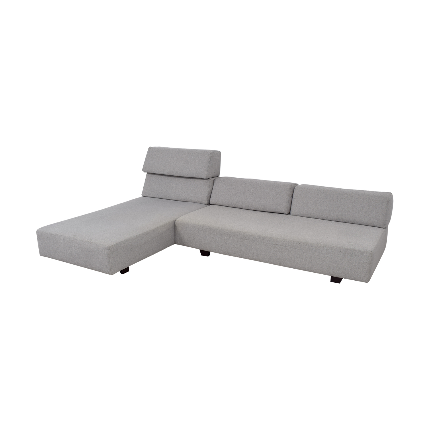 ... West Elm West Elm Tillary Chenille Tweed Feather Gray Modular Seating  Sofa For Sale ...