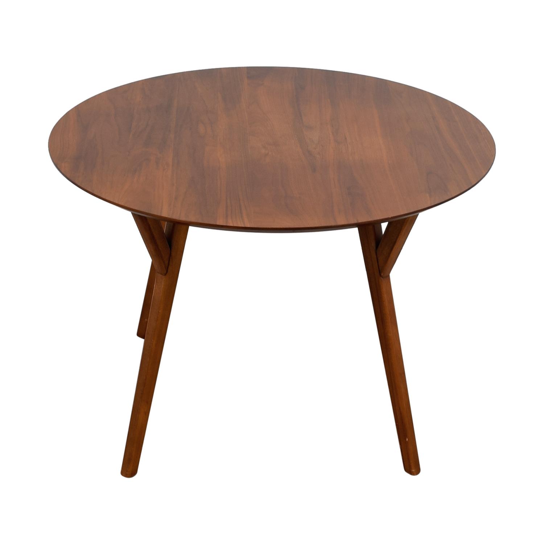 West Elm West Elm Mid-Century Walnut Round Dining Table on sale