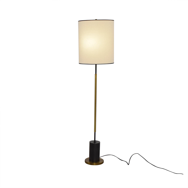 West Elm + Rejuvenation Cylinder Antique Brass and Linen Floor Lamp West Elm