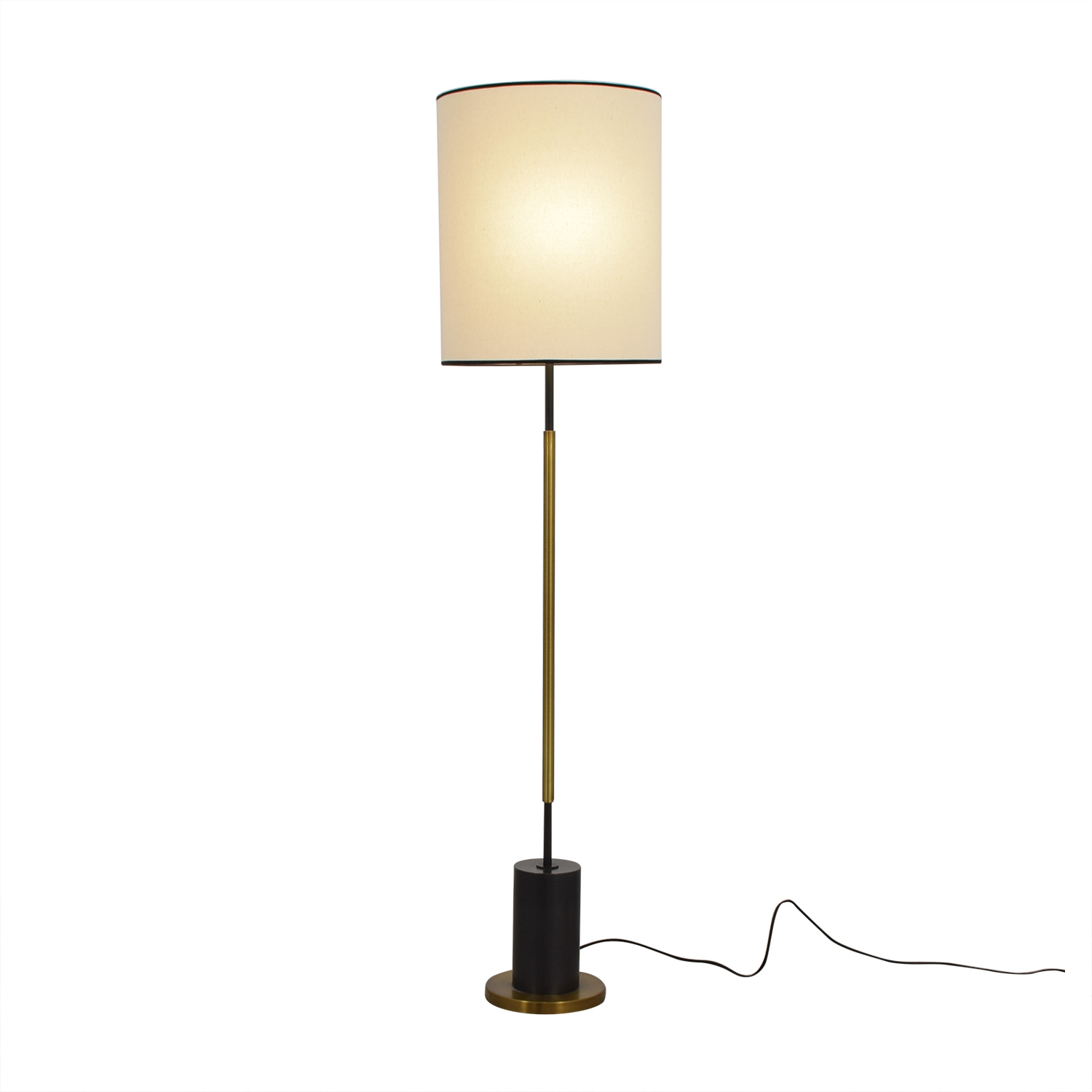 shop West Elm + Rejuvenation Cylinder Antique Brass and Linen Floor Lamp West Elm