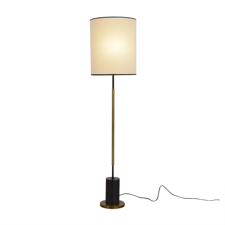 West Elm West Elm + Rejuvenation Cylinder Antique Brass and Linen Floor Lamp coupon