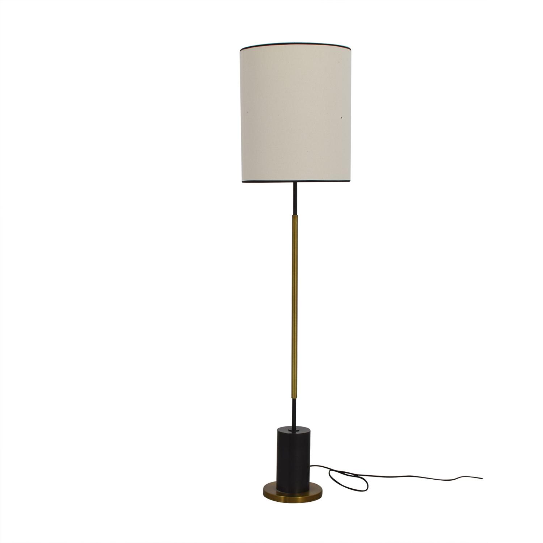 shop West Elm + Rejuvenation Cylinder Antique Brass and Linen Floor Lamp West Elm