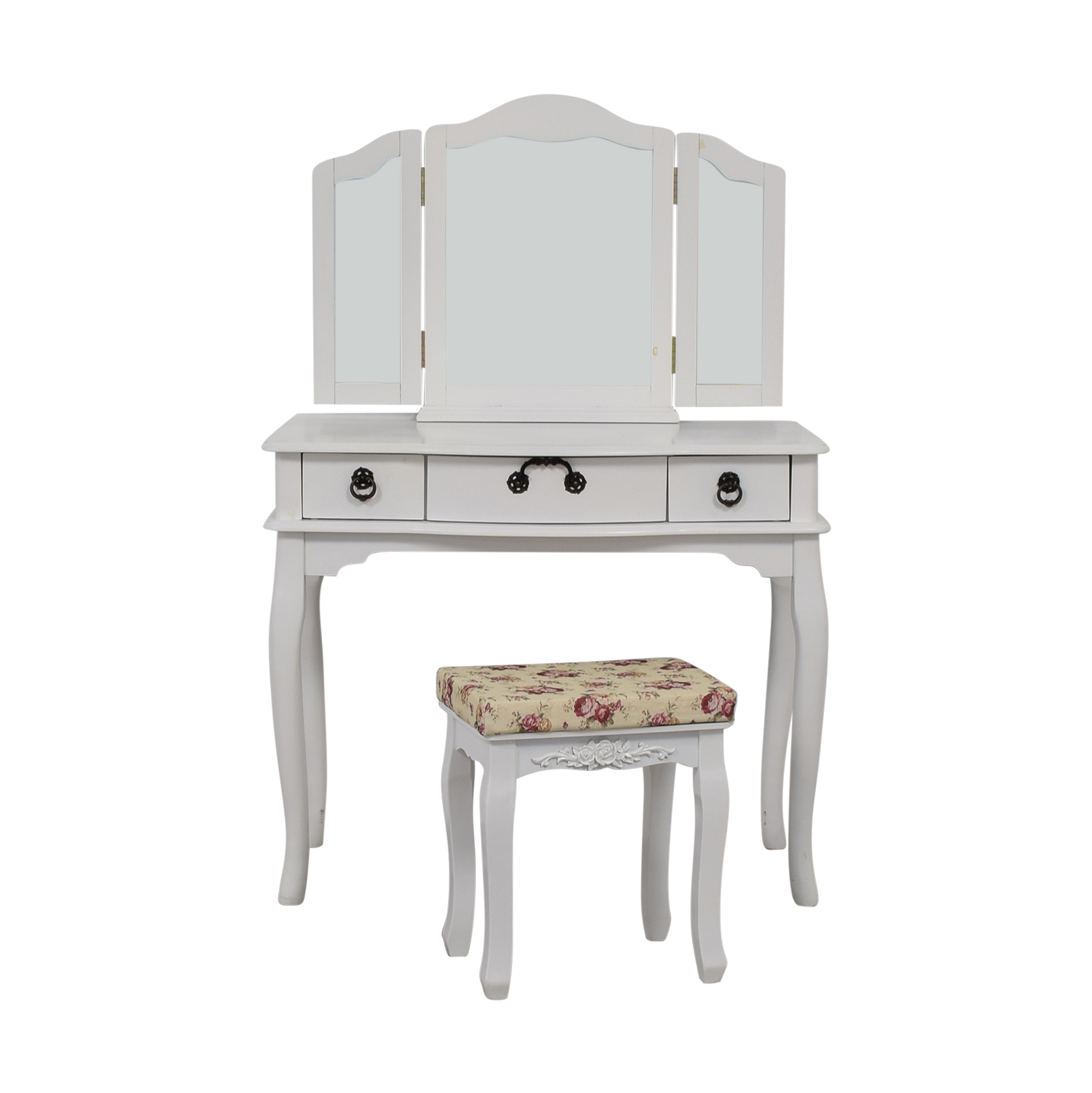 Poundex Bobkona Susana Tri-fold Mirror Vanity Table sale