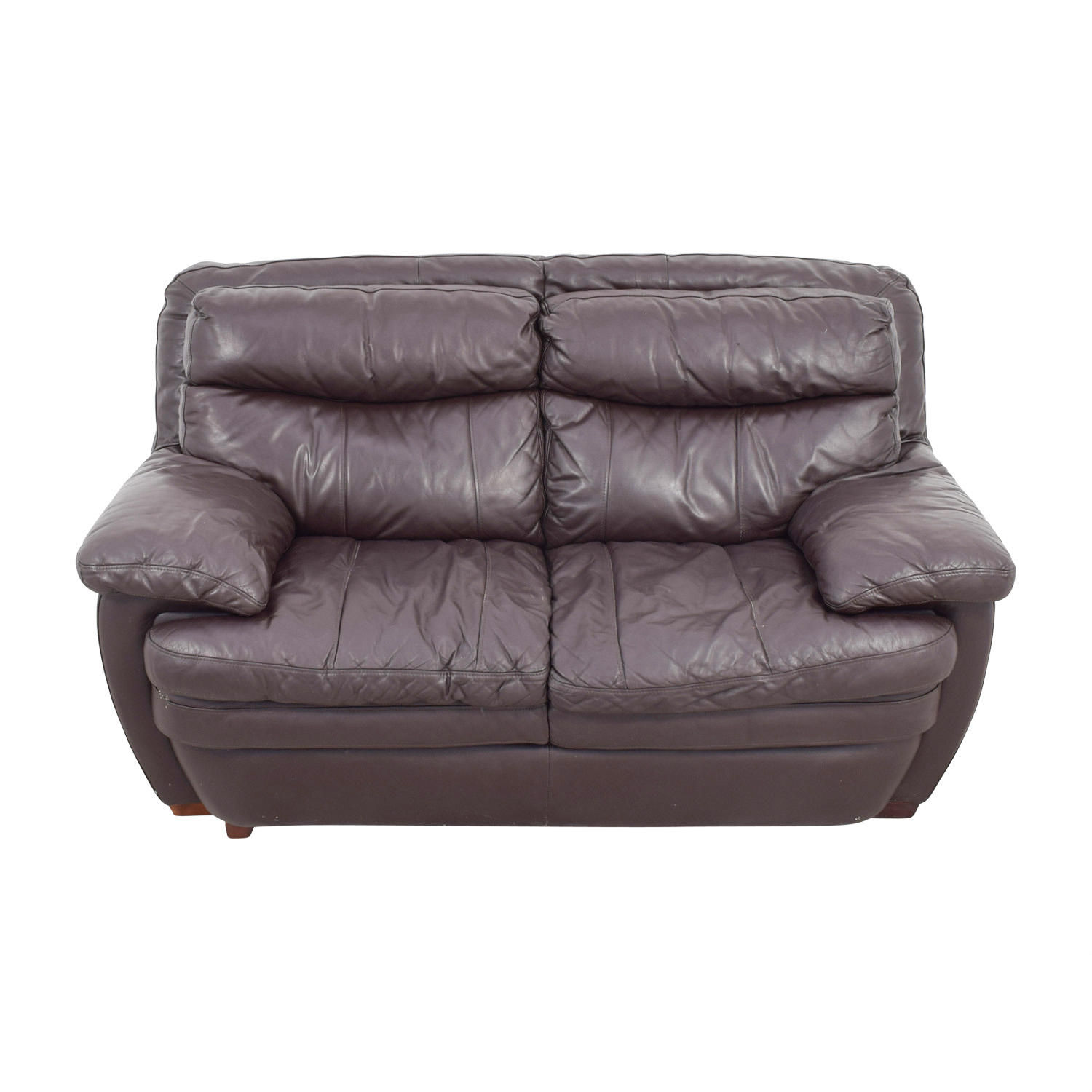 Bobs Furniture Brown Leather Loveseat sale