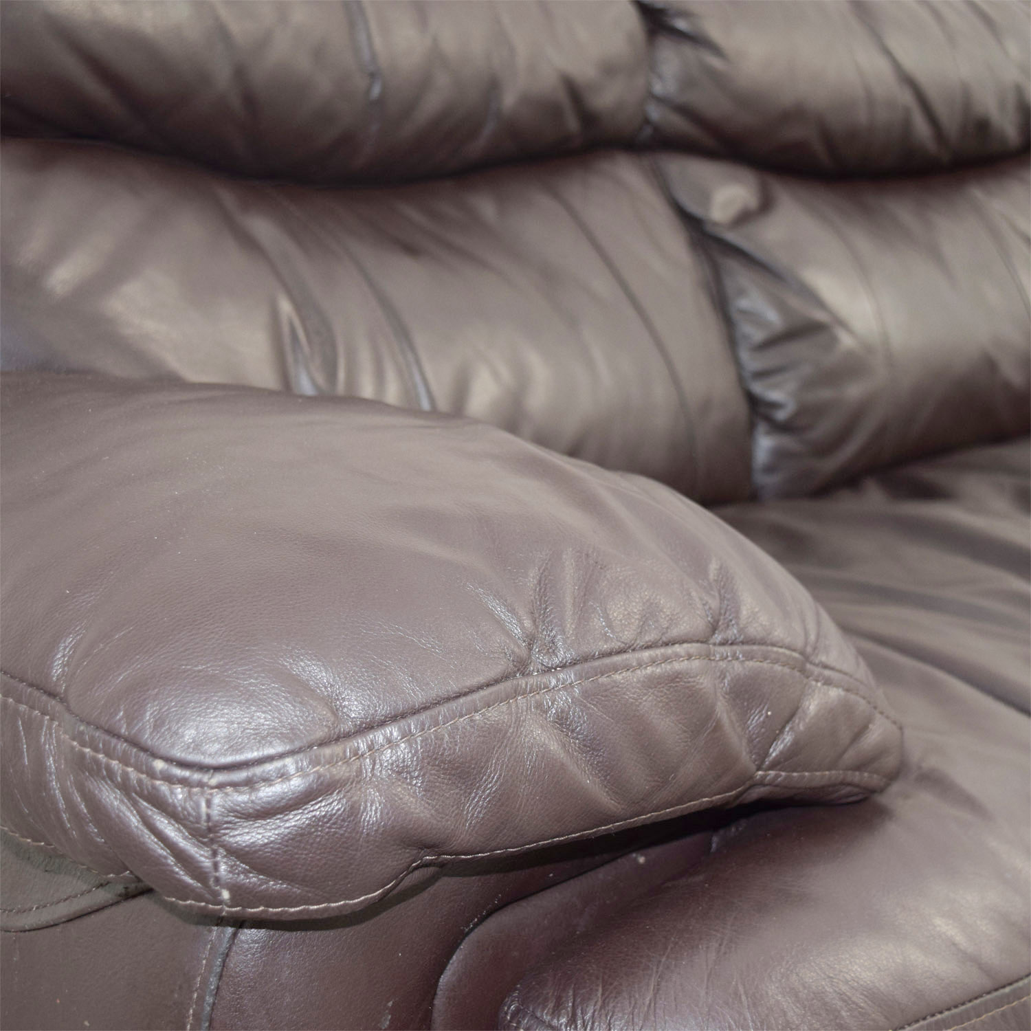 Bobs Furniture Bobs Furniture Brown Leather Loveseat for sale